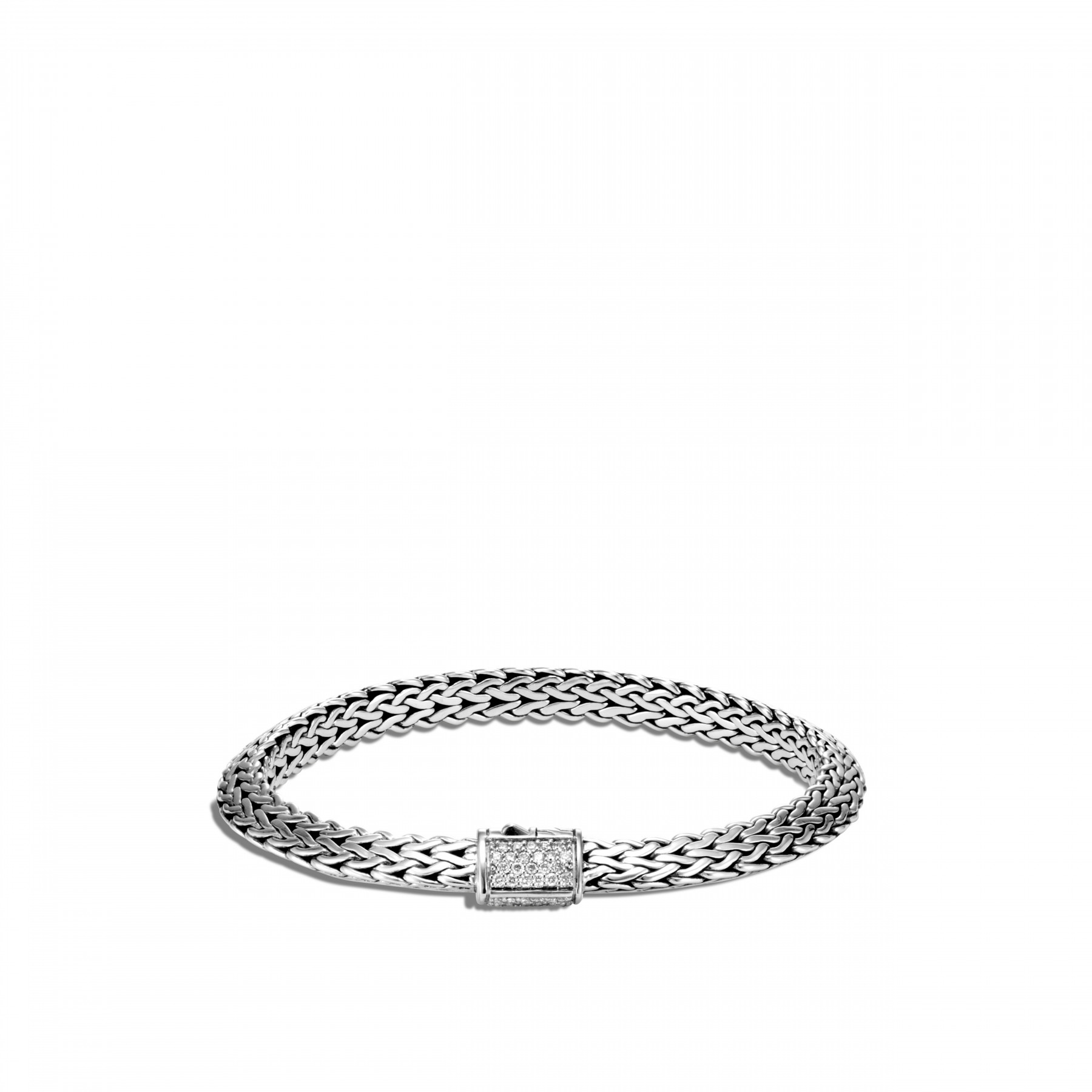 John Hardy Classic Chain Diamond Silver Bracelet - 6.4mm front view