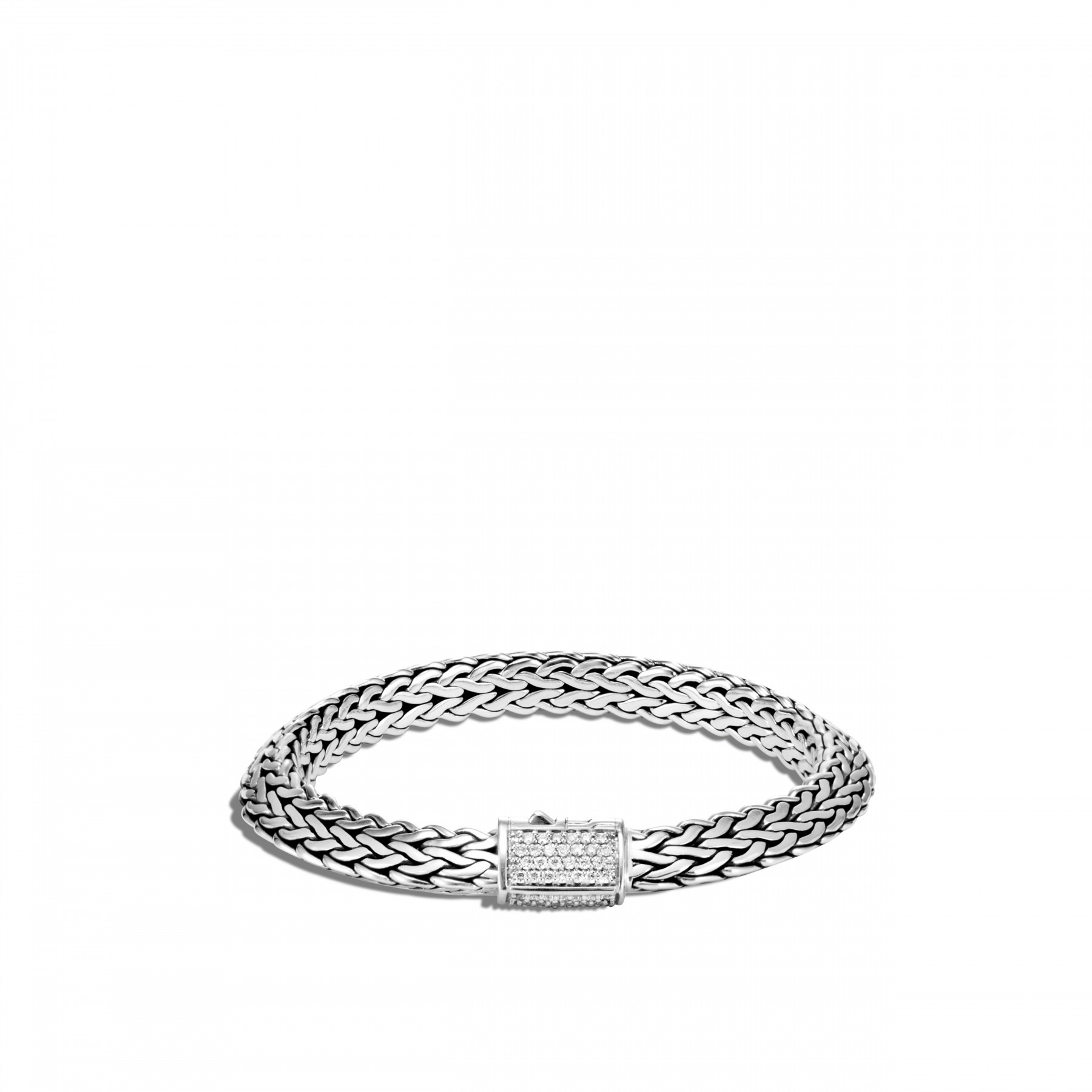 John Hardy Classic Chain Diamond Silver Bracelet - 8mm front view