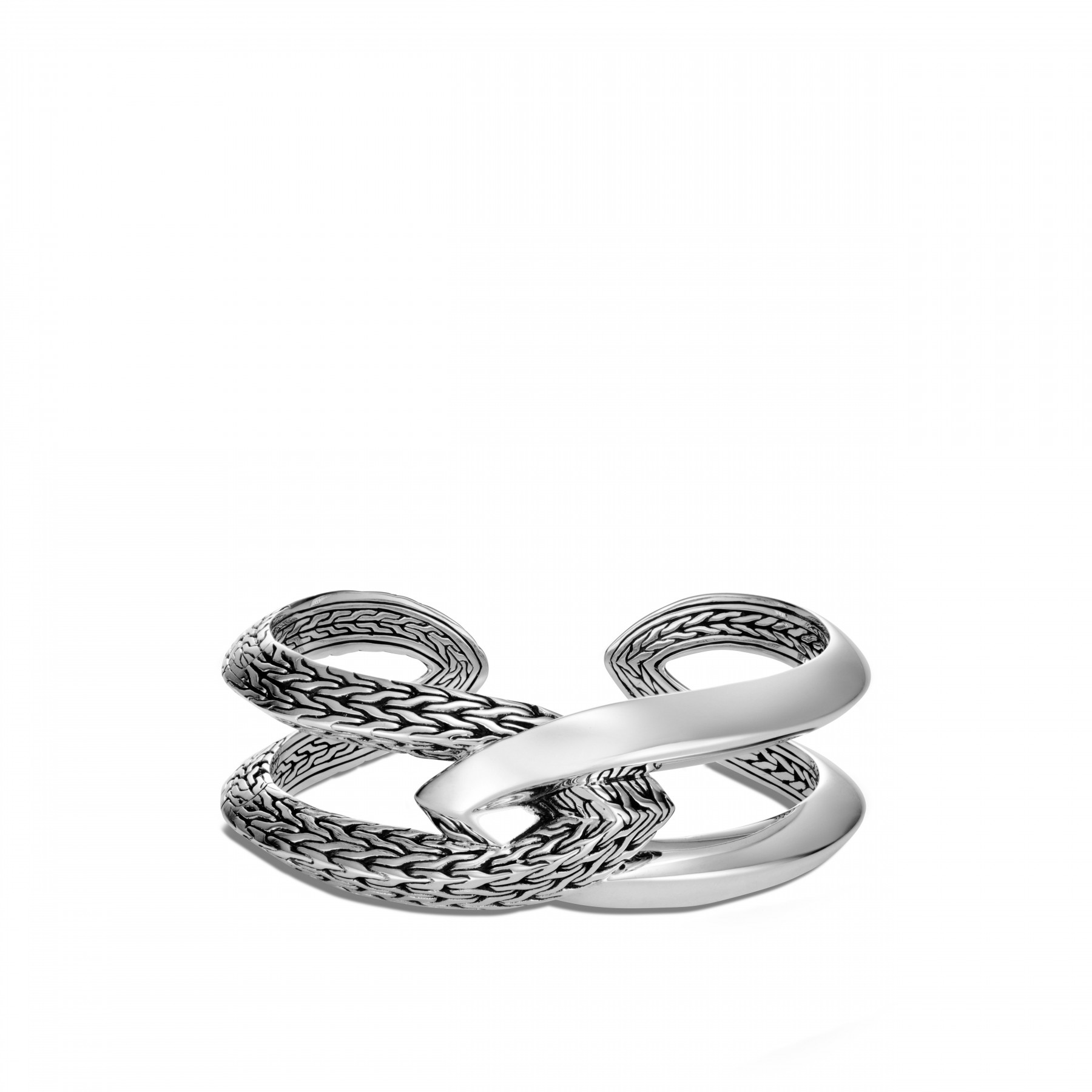 John Hardy Classic Chain Silver Double Cuff Bracelet front view