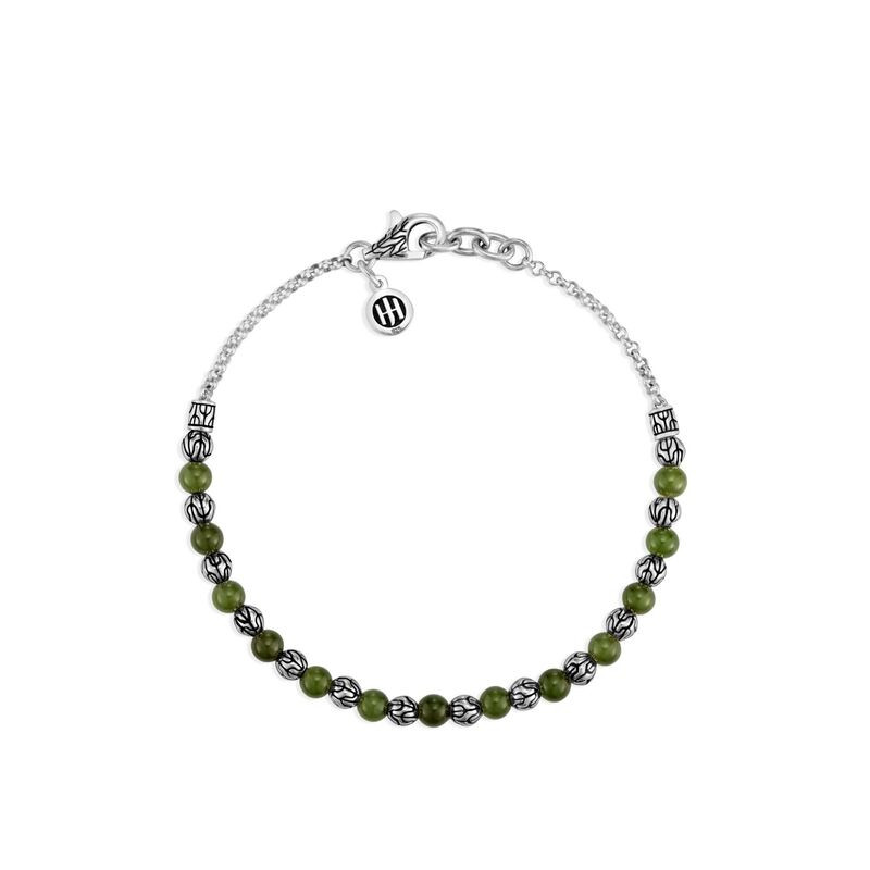 John Hardy Classic Chain Green Jade Bead Bracelet in Sterling Silver front view