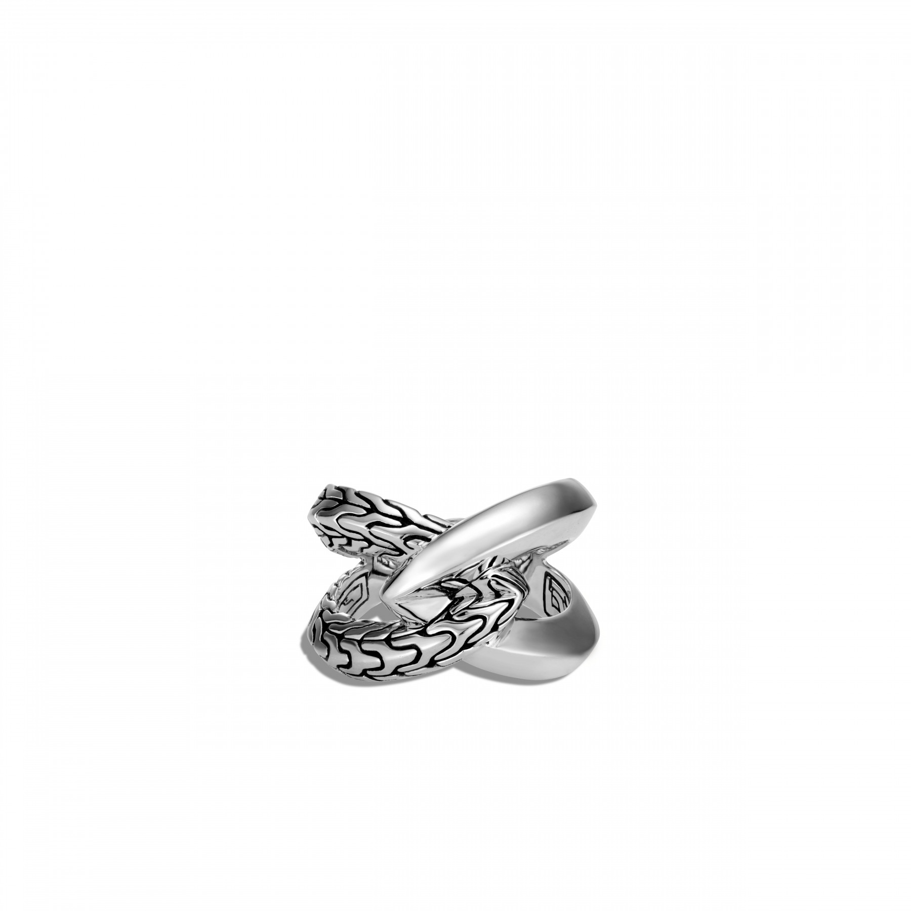 John Hardy Classic Chain Interlinked Silver Ring top view