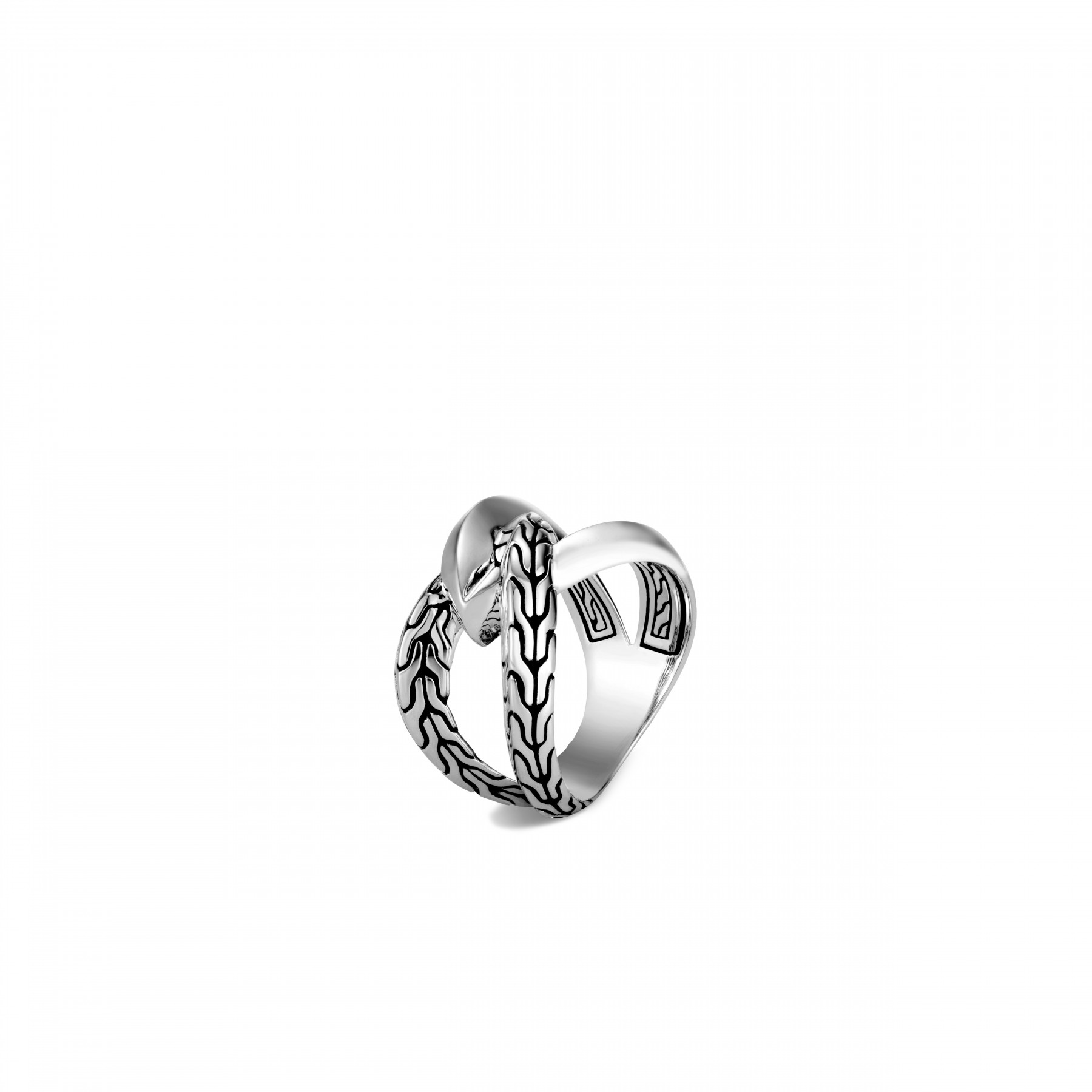 John Hardy Classic Chain Interlinked Silver Ring front view