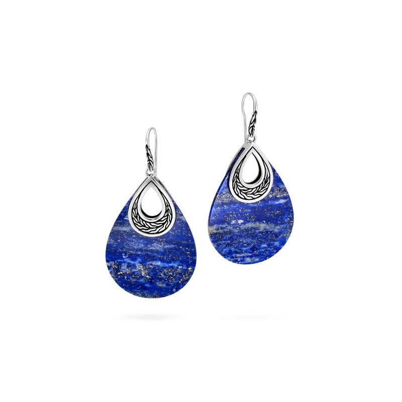 John Hardy Classic Chain Lapis Lazuli and Silver Teardrop Earrings front view