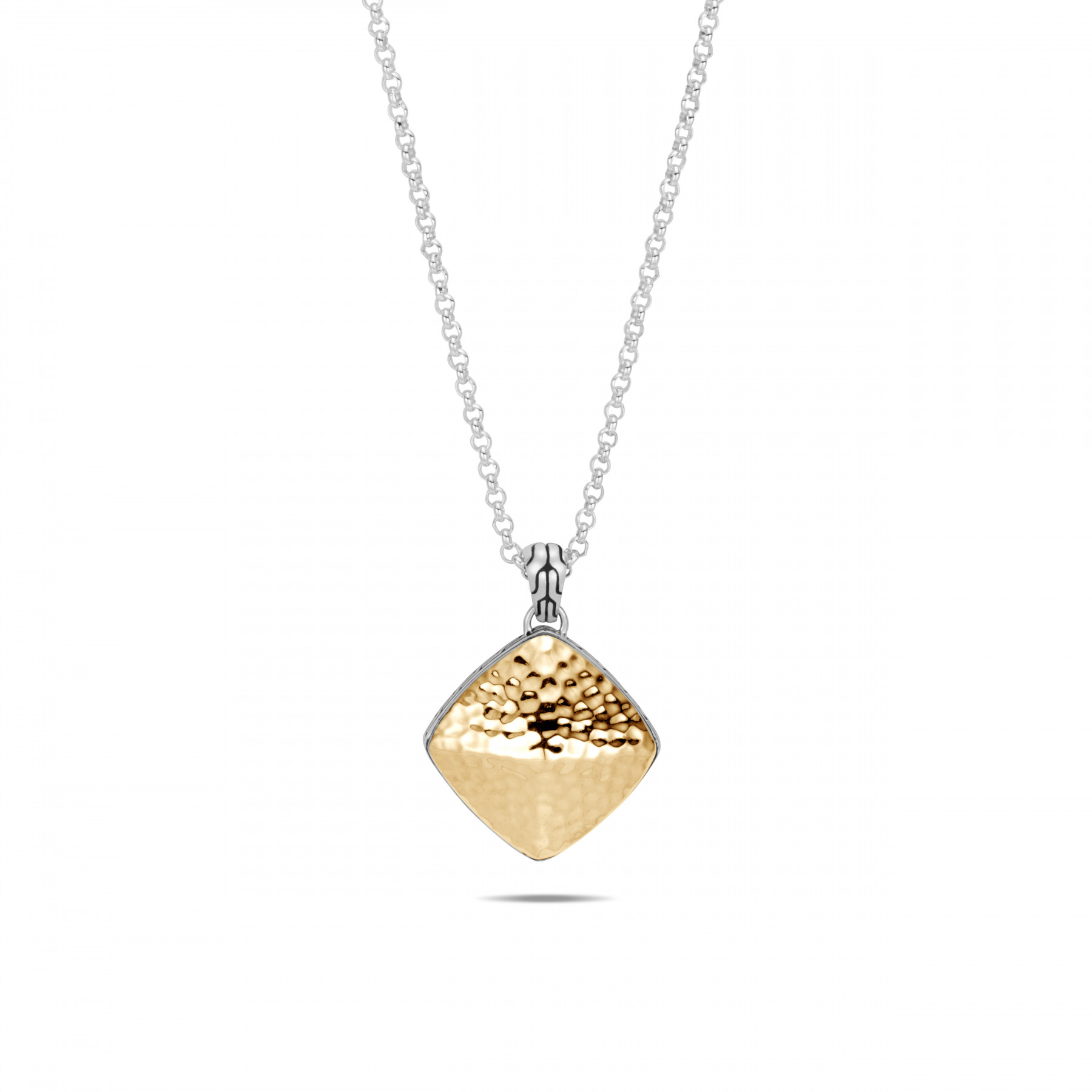 John Hardy Classic Chain Large Gold and Silver Square Necklace
