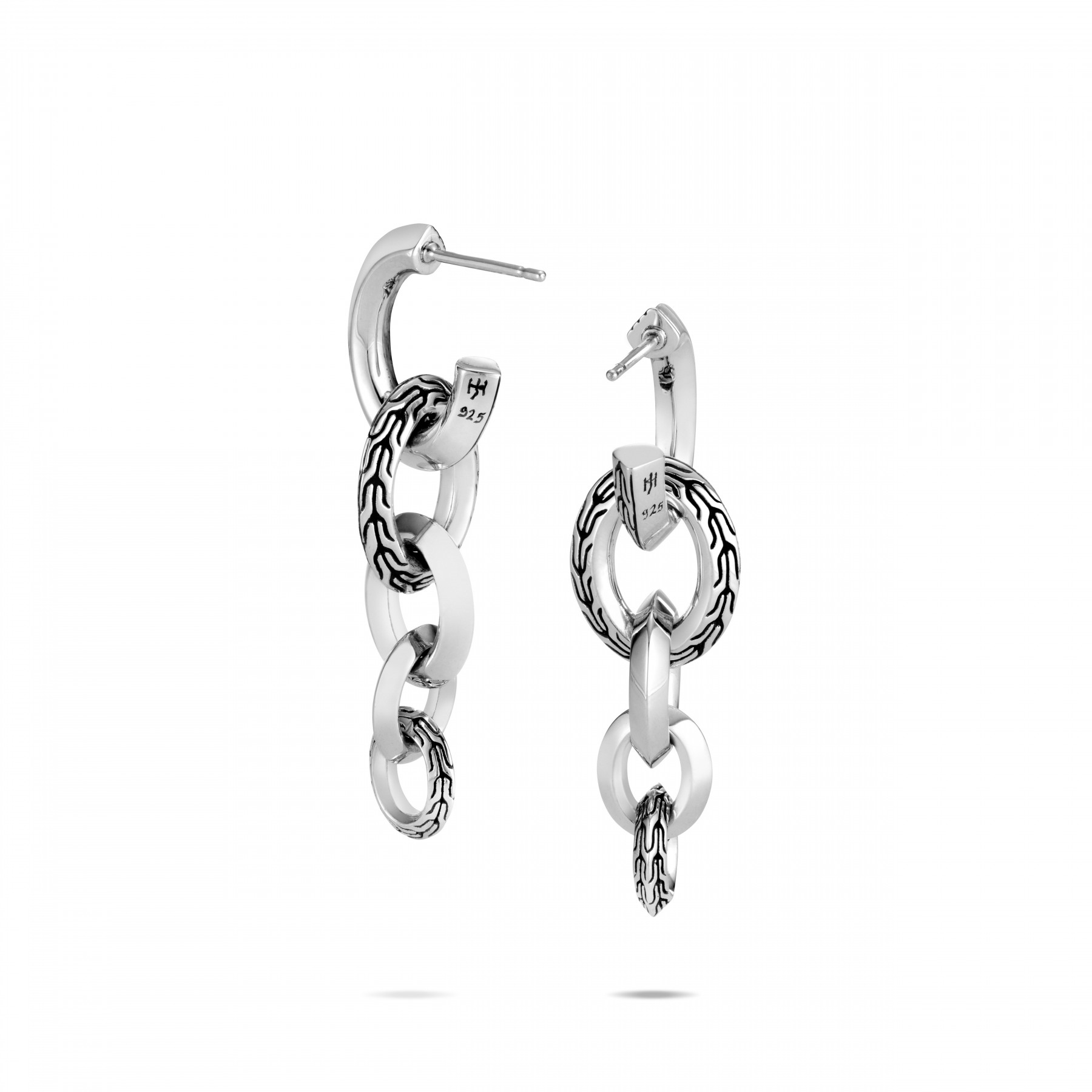 John Hardy Classic Chain Silver Link Drop Earrings back view