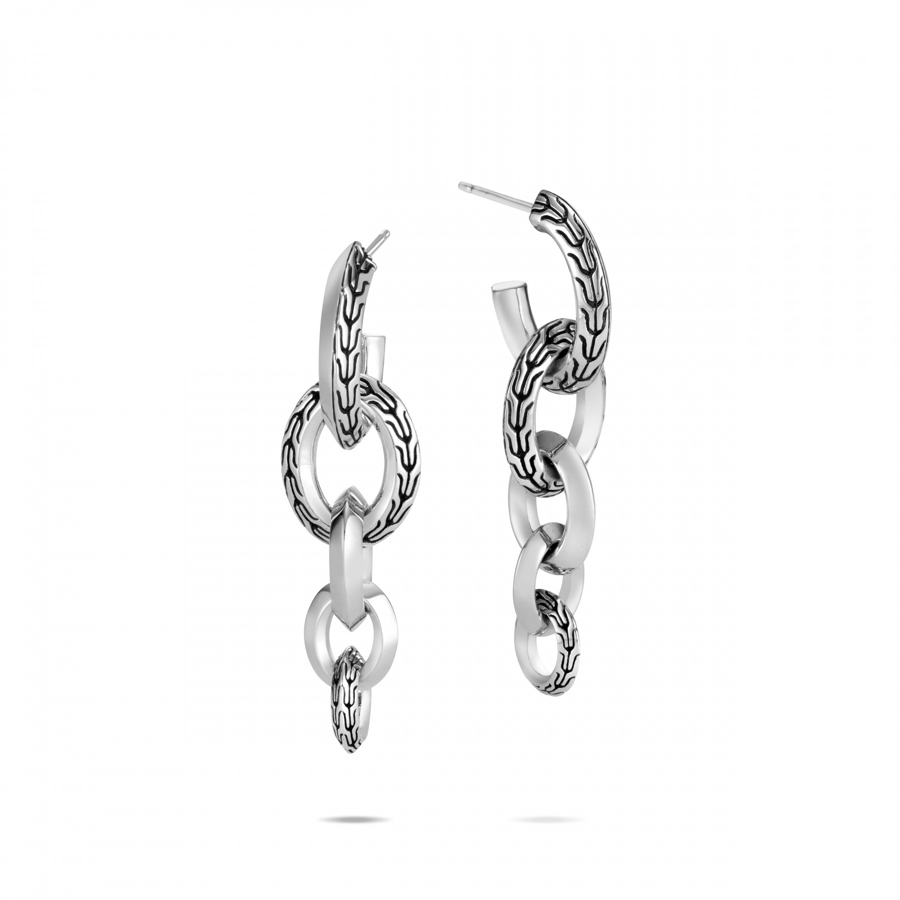 John Hardy Classic Chain Silver Link Drop Earrings front view