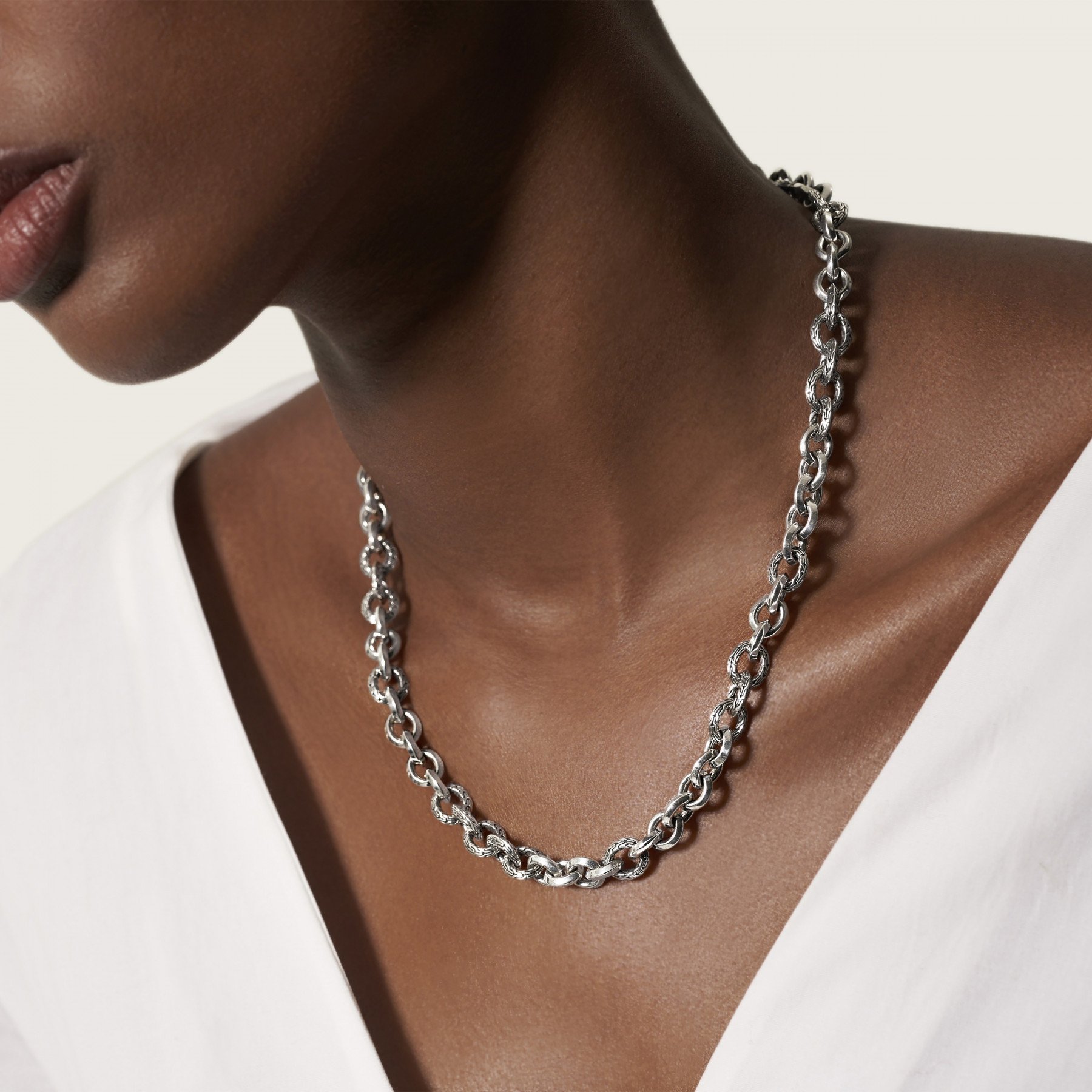 John Hardy Classic Chain Silver Link Necklace - 8.1mm on model