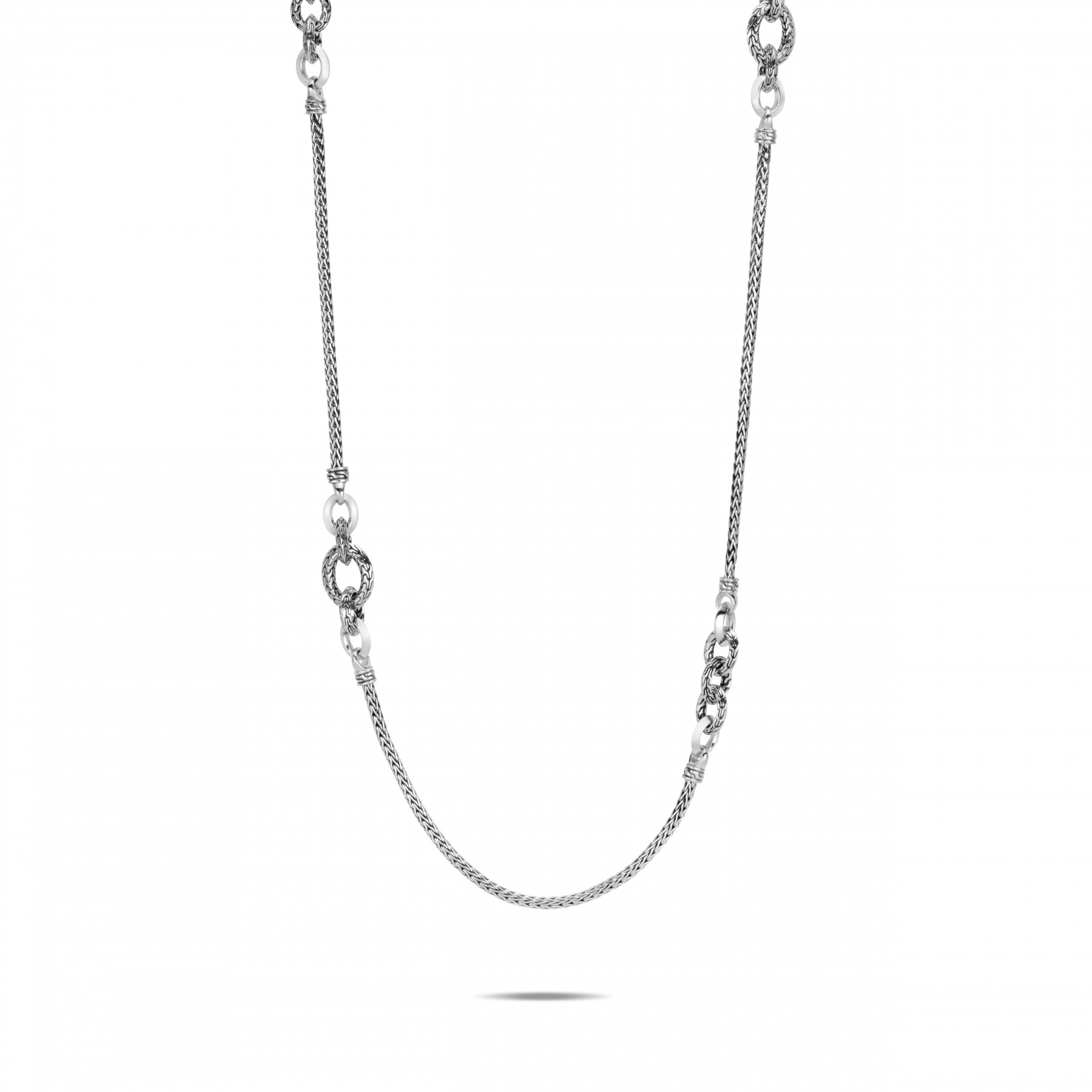 John Hardy Classic Chain Silver Station Necklace front view