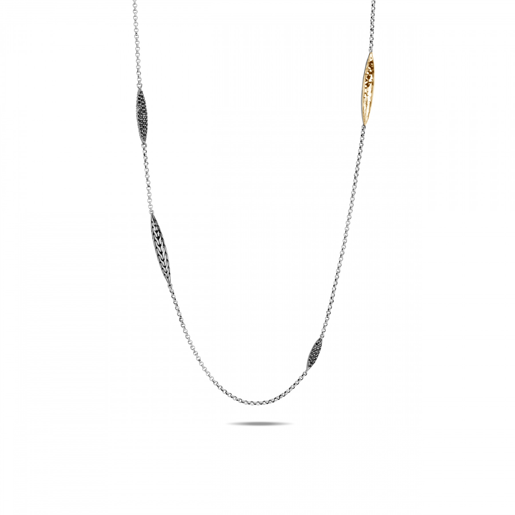 John Hardy Classic Chain Spear Mixed Metal Long Necklace front view