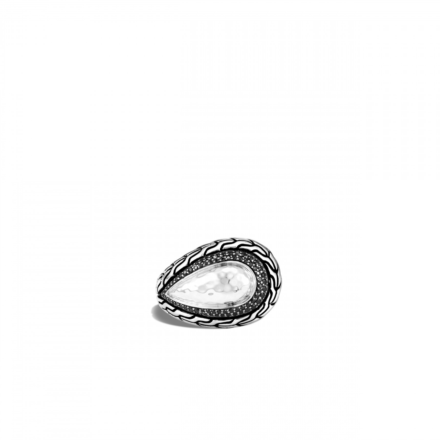 John Hardy Classic Chain Teardrop Ring with Black Gemstones top view