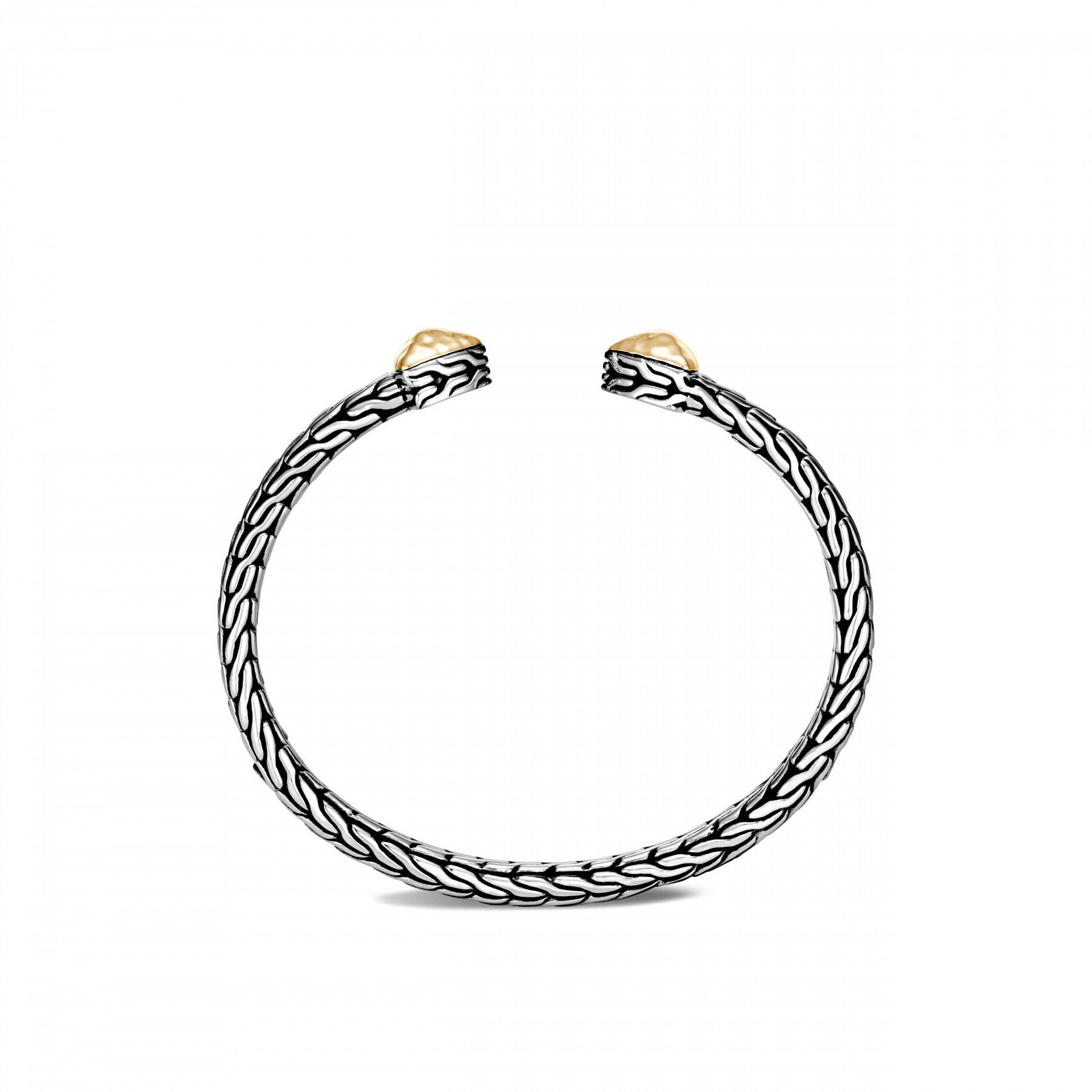 John Hardy Classic Chain Silver and Gold Cuff Bracelet side view
