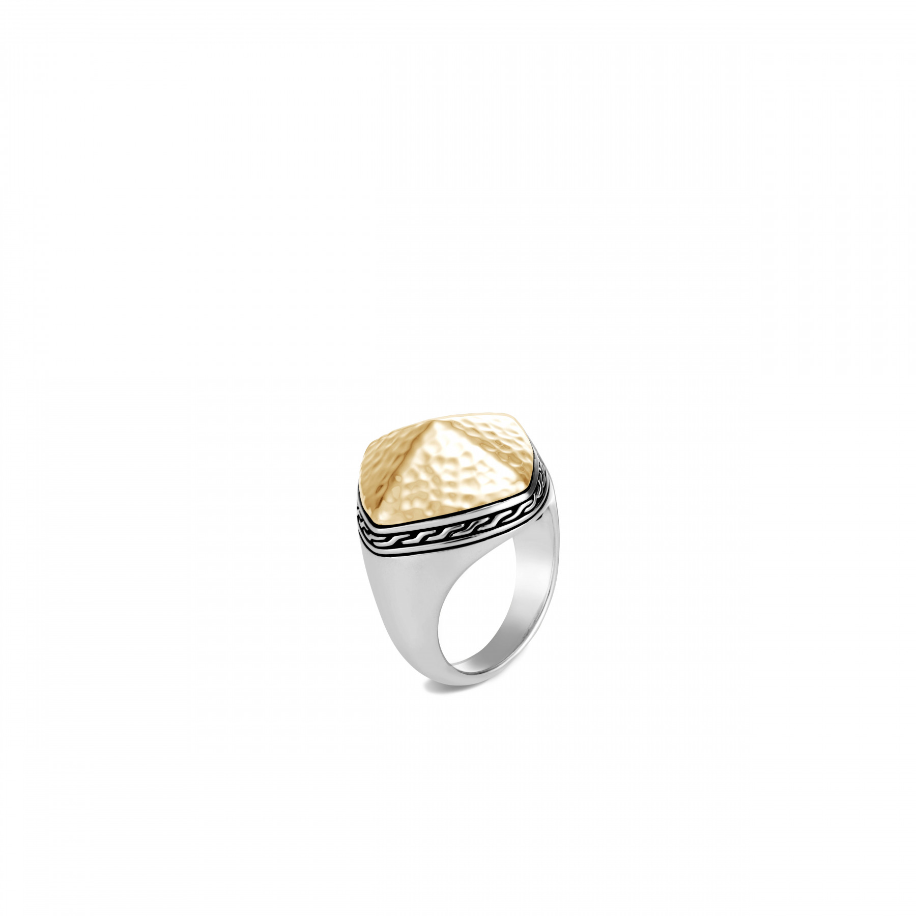 John Hardy Classic Chain Silver and Gold Ring front view