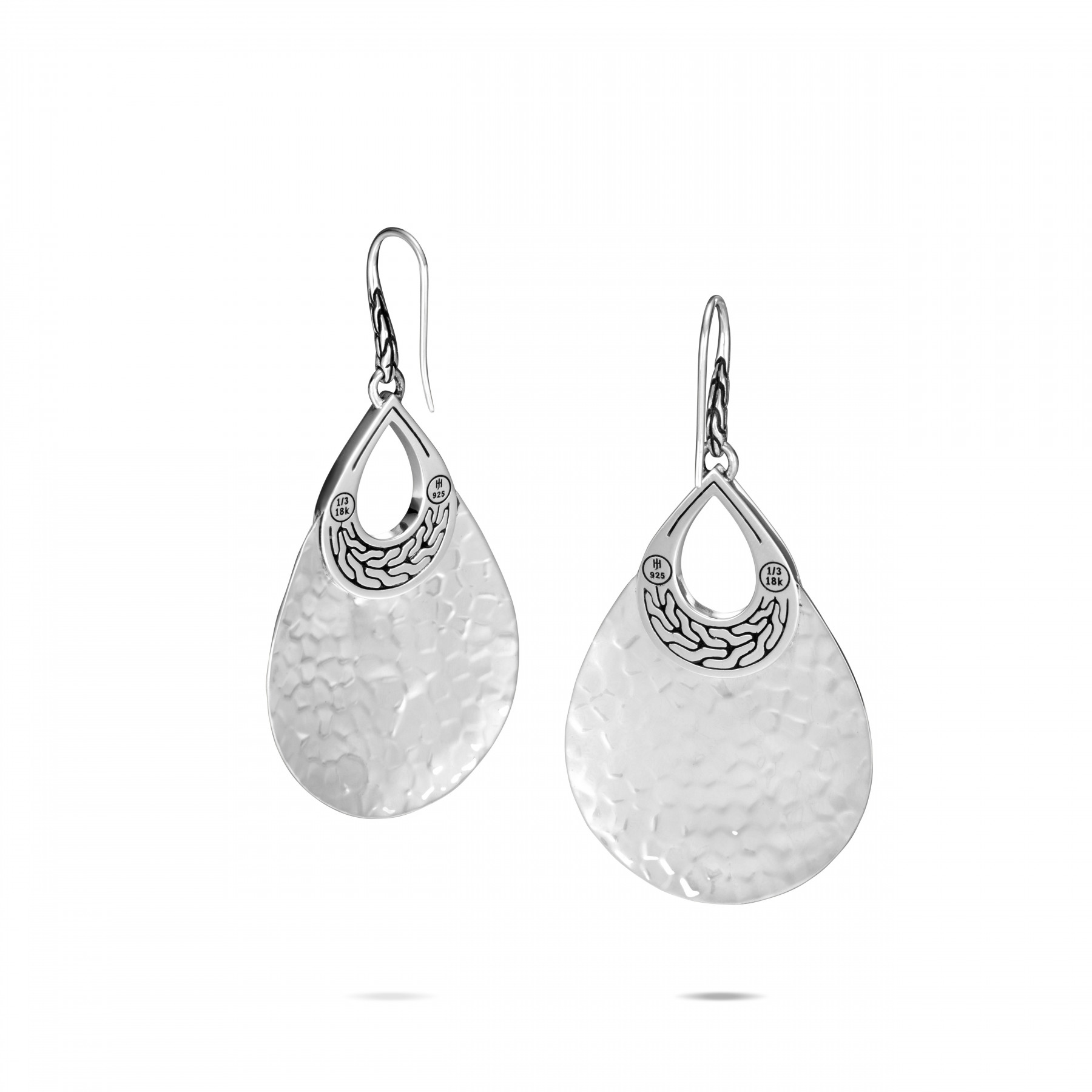 John Hardy Classic Chain Gold and Silver Teardrop Dangle Earrings back view