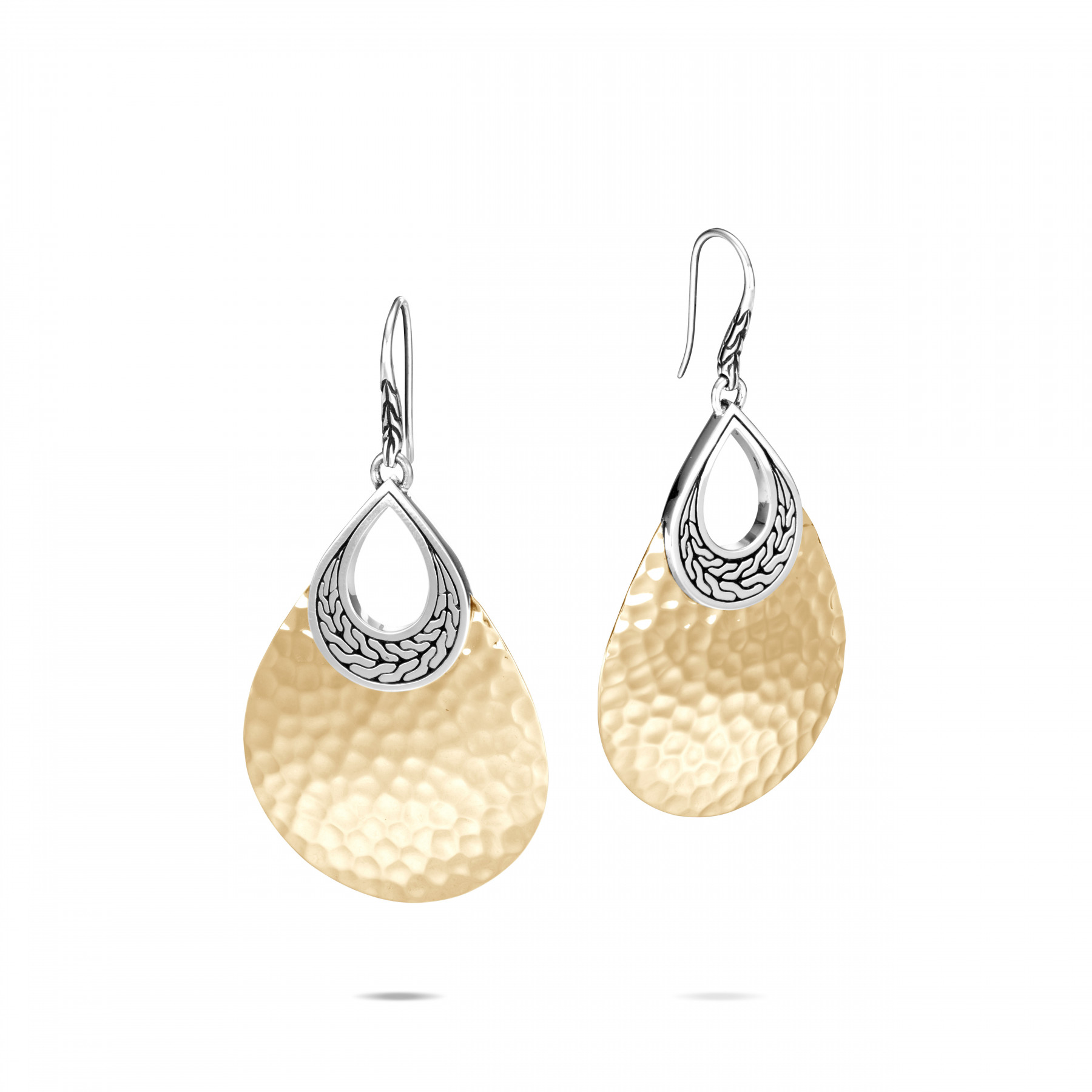 John Hardy Classic Chain Gold and Silver Teardrop Dangle Earrings
