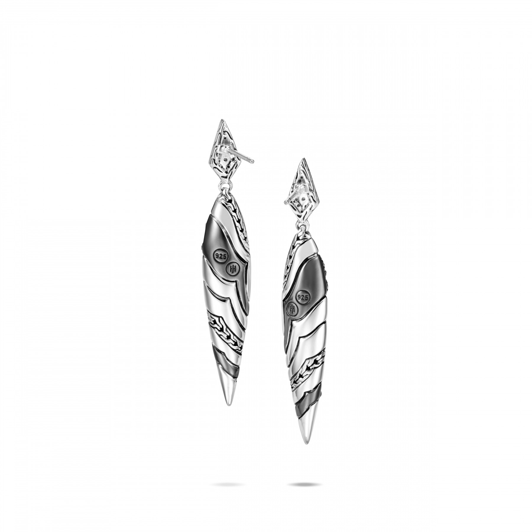 John Hardy Lahar White and Grey Diamond Spear Earrings back view