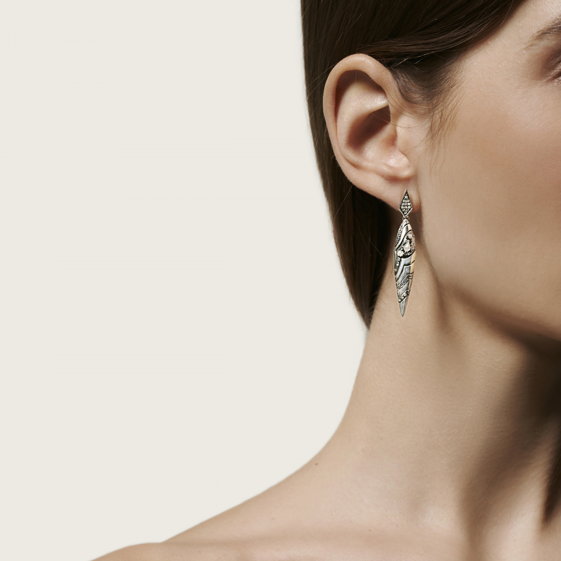 John Hardy Lahar White and Grey Diamond Spear Earrings on model