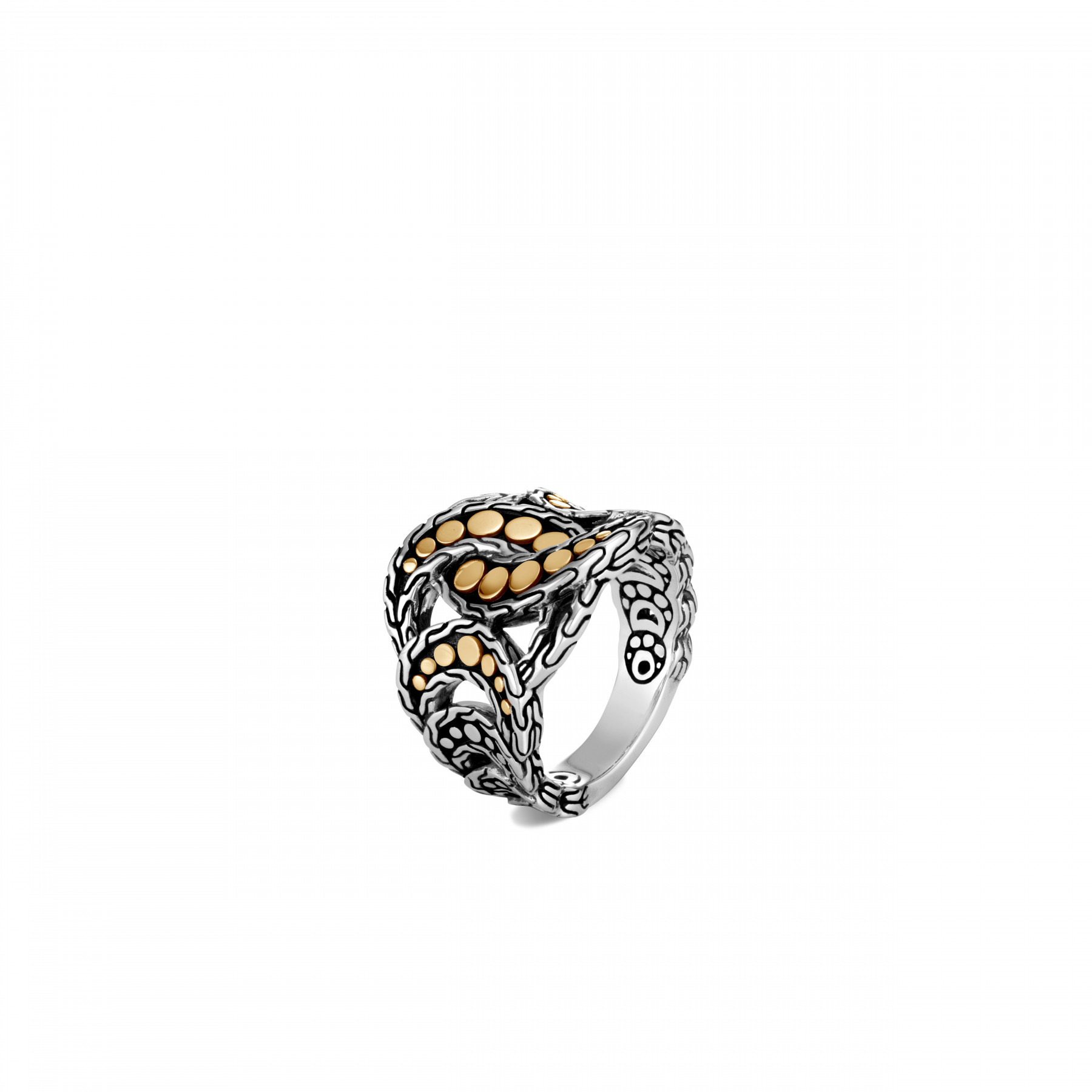 John Hardy Dot Two Tone Linked Ring front view