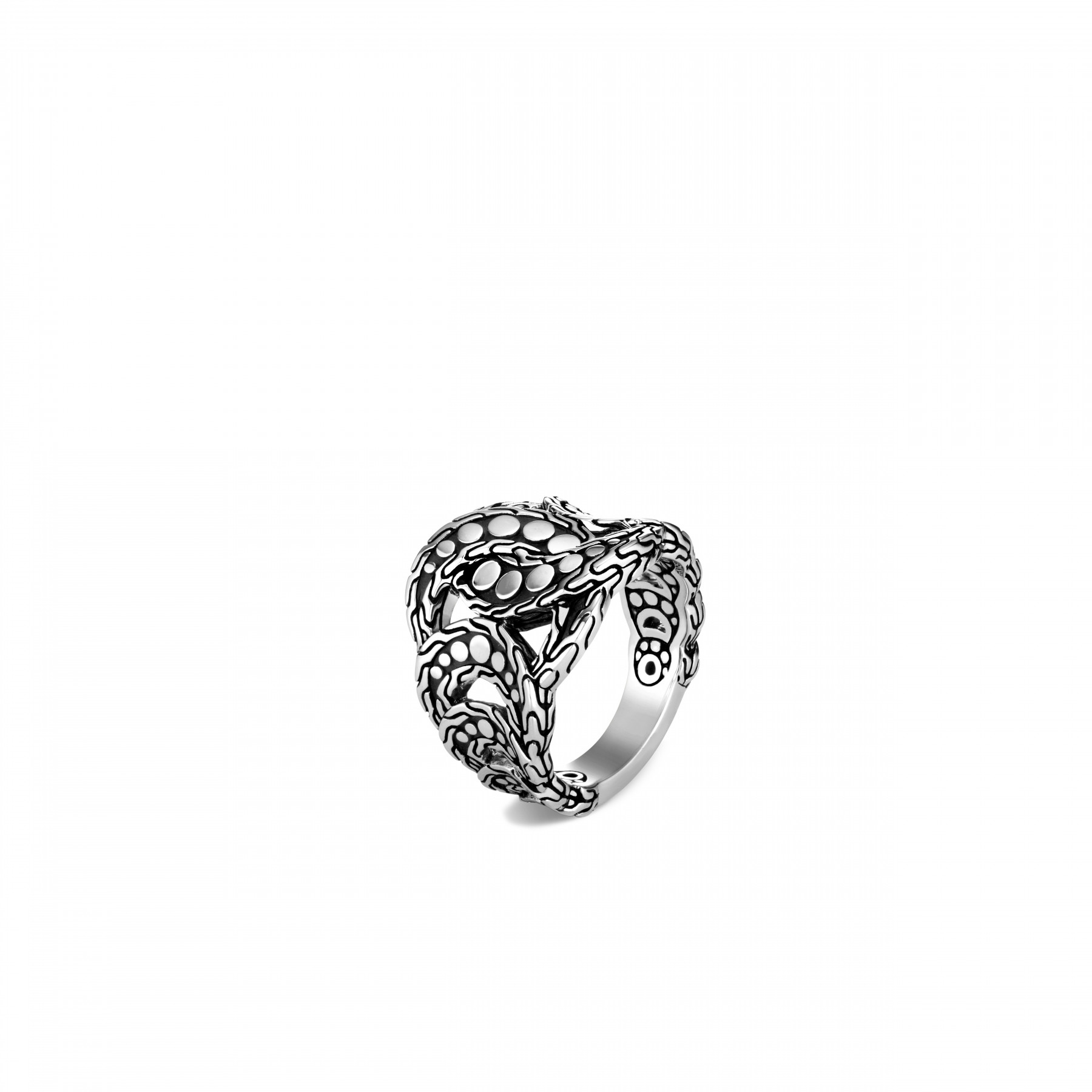 John Hardy Dot Silver Linked Ring front view