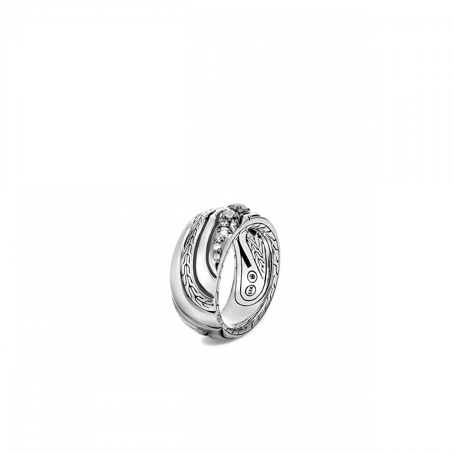 John Hardy Lahar White and Grey Diamond Band Ring front view