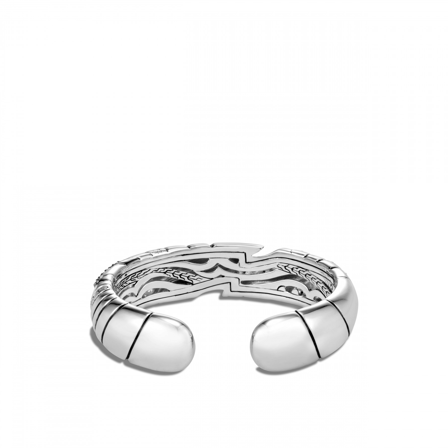 John Hardy Lahar Grey and White Diamond Cuff Bracelet (15mm) back view
