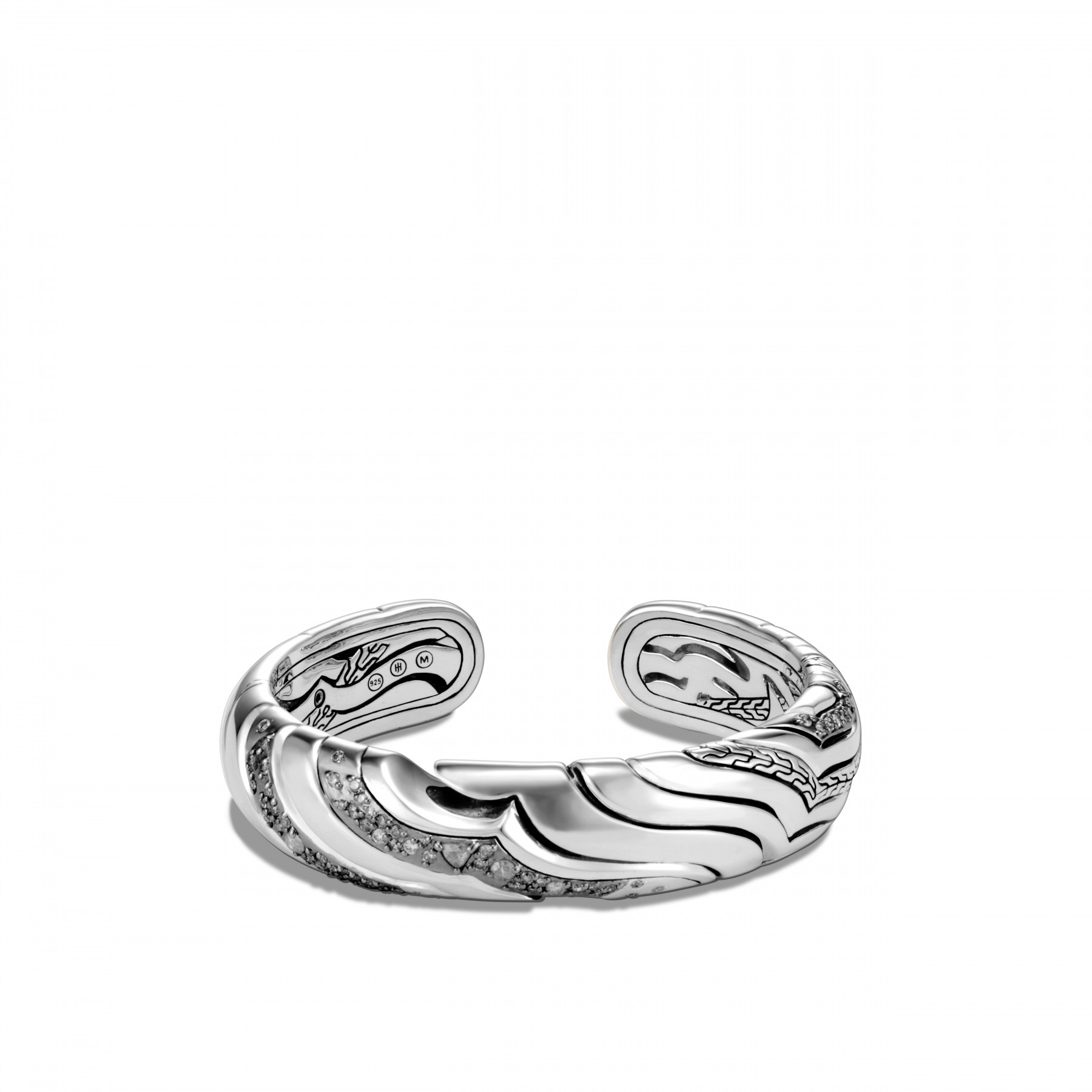 John Hardy Lahar Grey and White Diamond Cuff Bracelet (15mm) front view