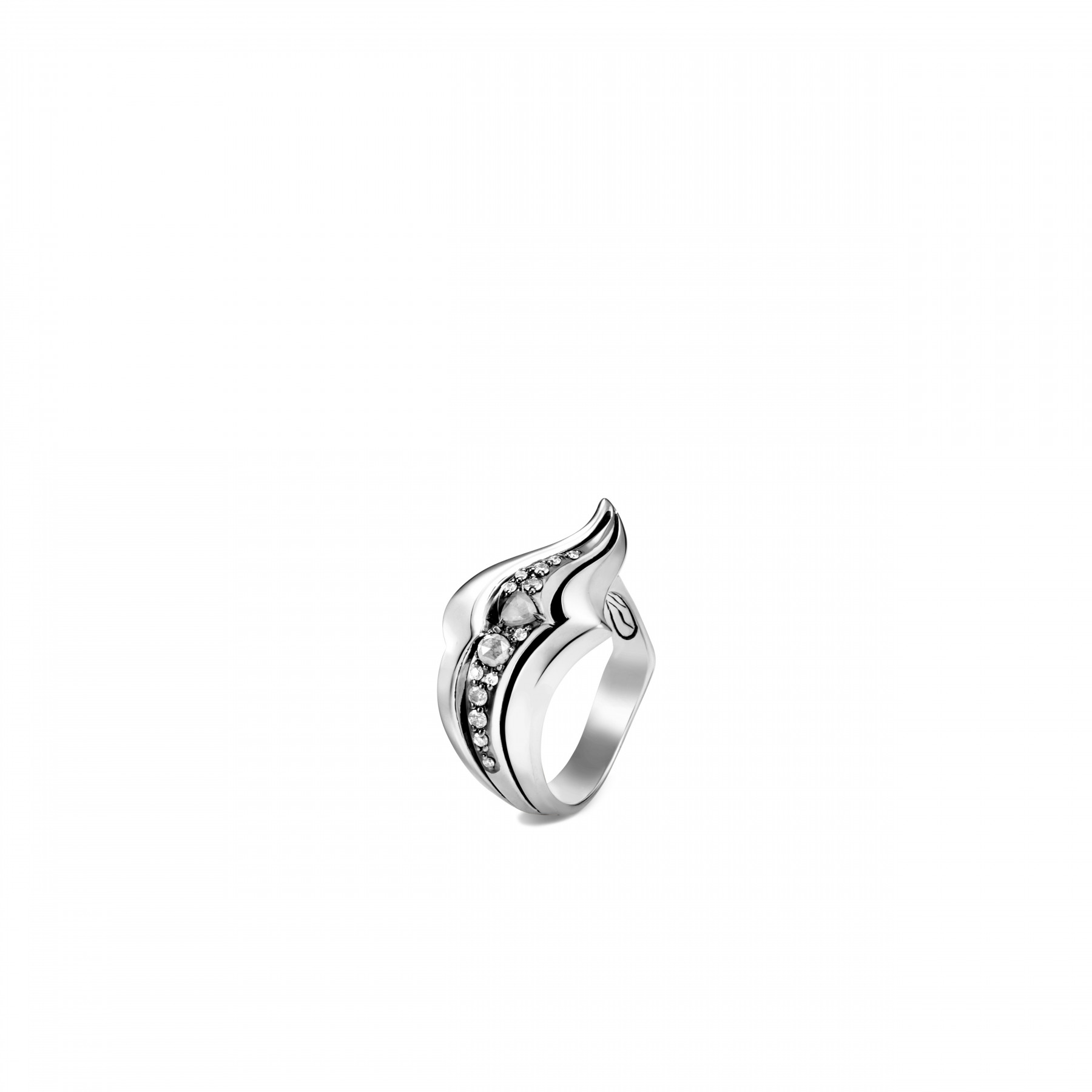 John Hardy Lahar White and Grey Diamond Curve Ring front view