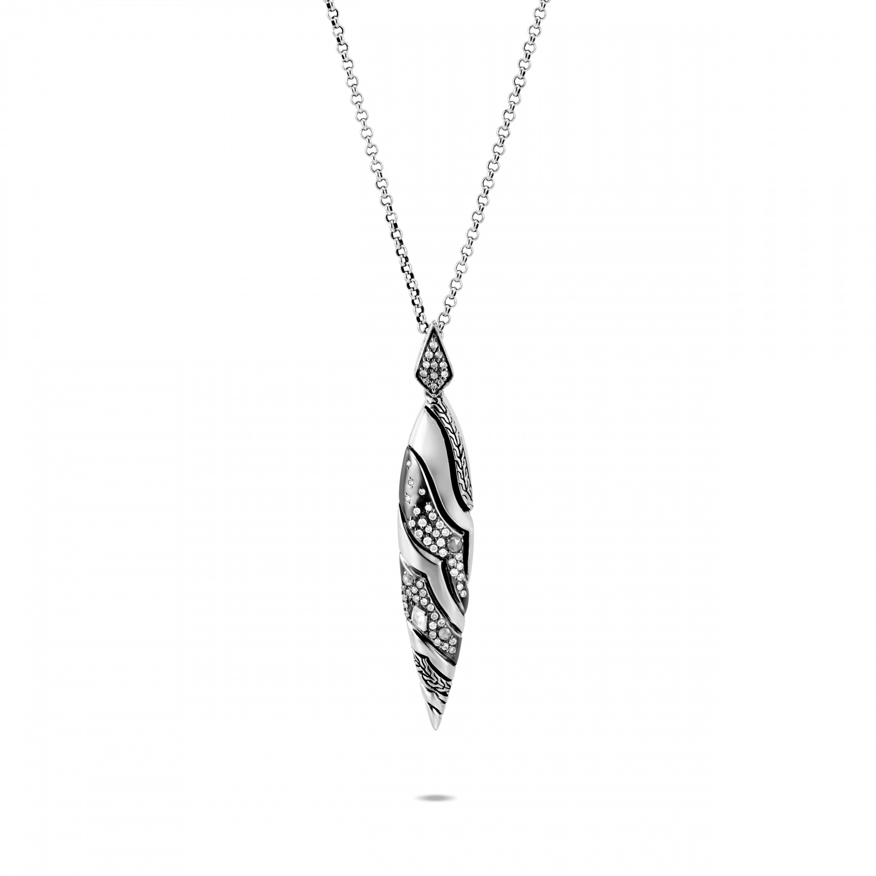 John Hardy White and Grey Diamond Drop Necklace full view