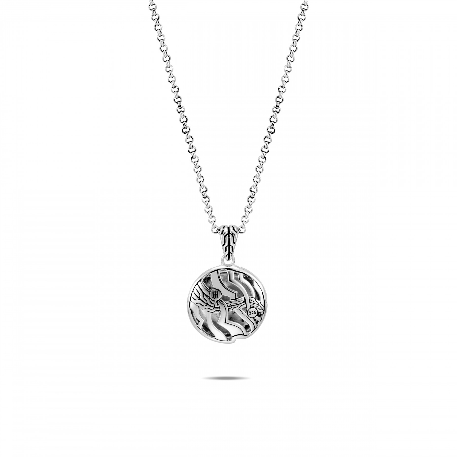 John Hardy White and Grey Diamond Round Necklace back view