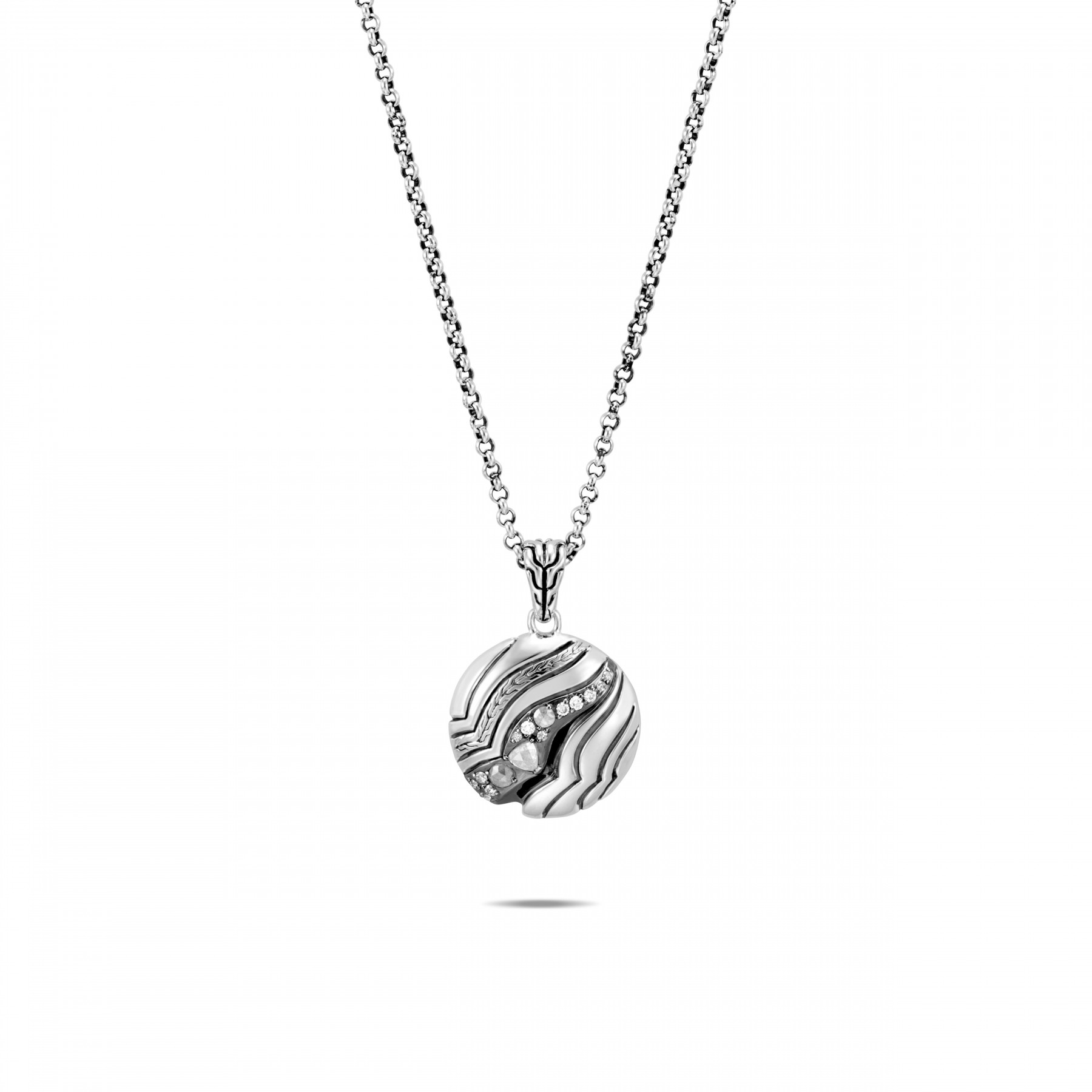 John Hardy White and Grey Diamond Round Necklace front view