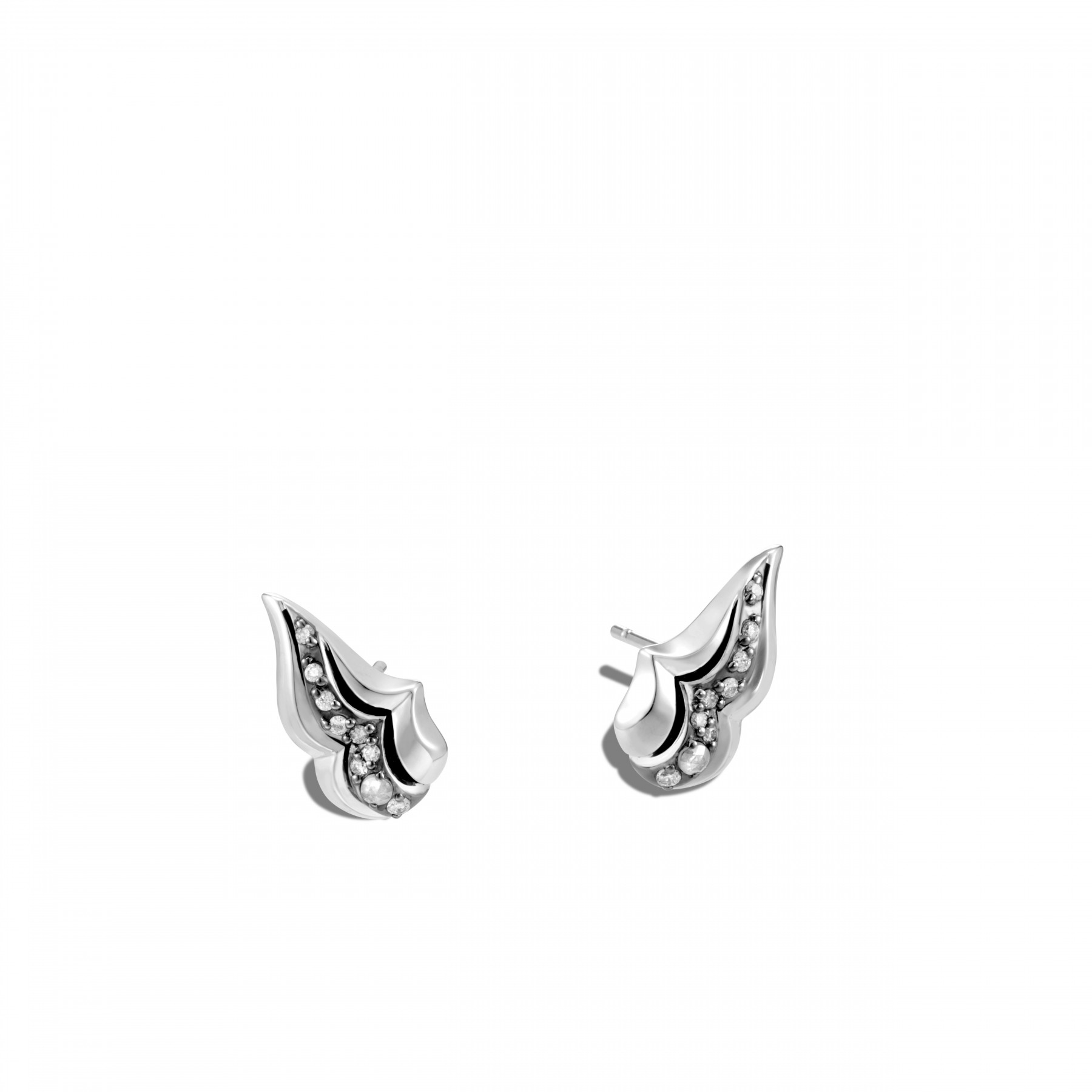 John Hardy Lahar White and Grey Diamond Wing Studs front view