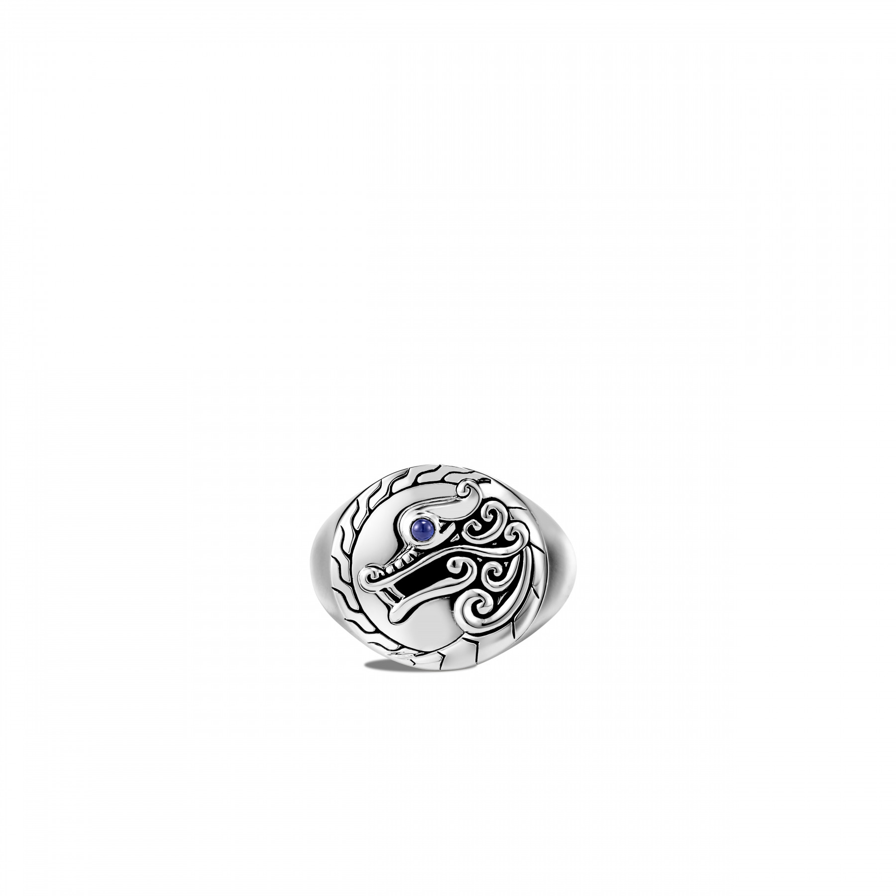 John Hardy Legends Naga Dragon Ring with Blue Sapphire top view