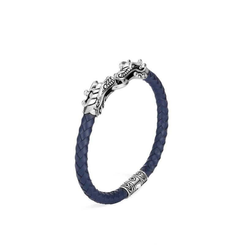 John Hardy Legends Naga Double Dragon Blue Braided Bracelet front view