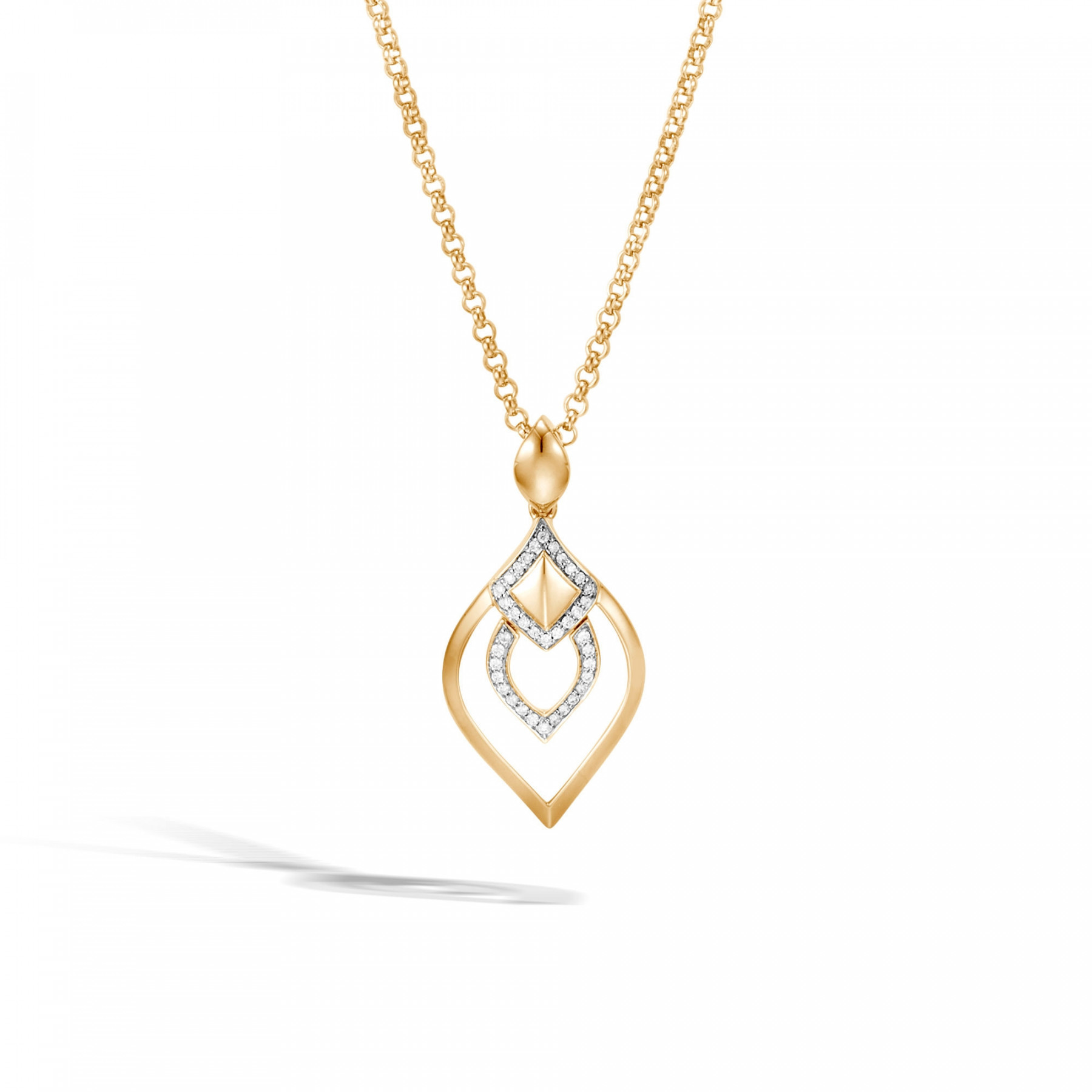 John Hardy Legends Naga Diamond Pendant Necklace in 18k Yellow Gold front view