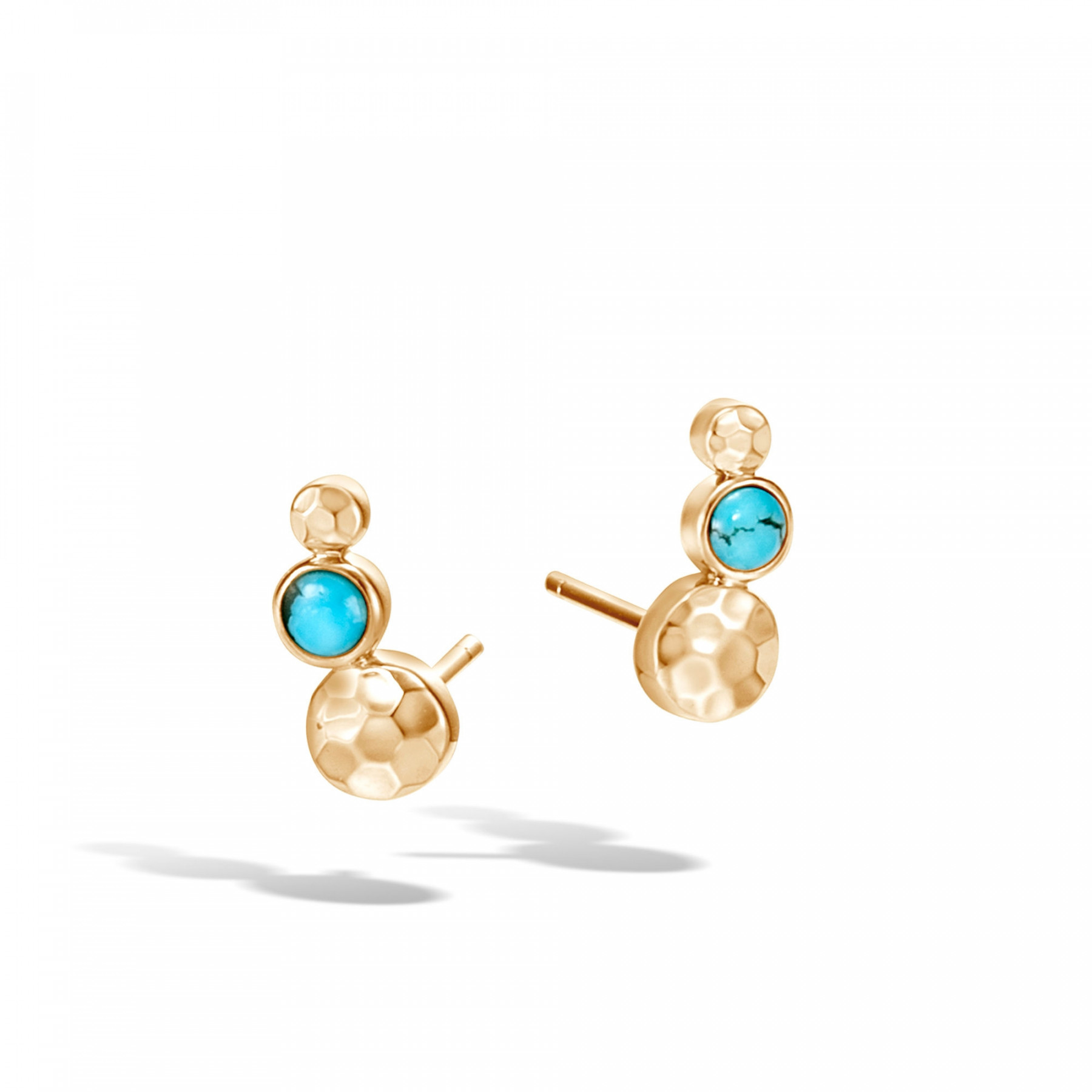 John Hardy Dot Three Circle Turquoise Stud Earrings in 18k Yellow Gold front view