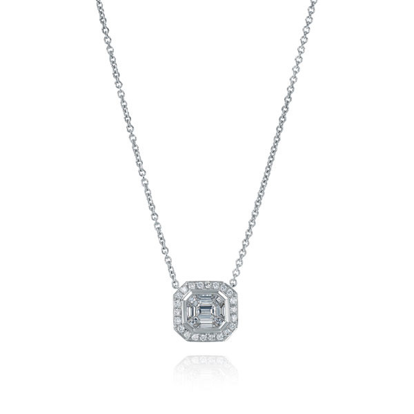 18kt White Gold Baguette Diamond Cluster Pendant Necklace