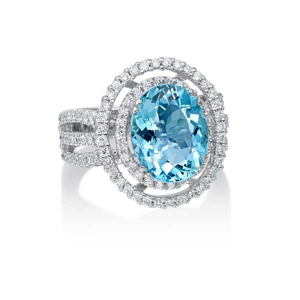 White Gold Oval Aquamarine & Diamond Double Halo Ring