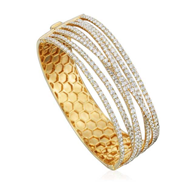 Yellow Gold 7 Row Diamond Overlapping Bangle