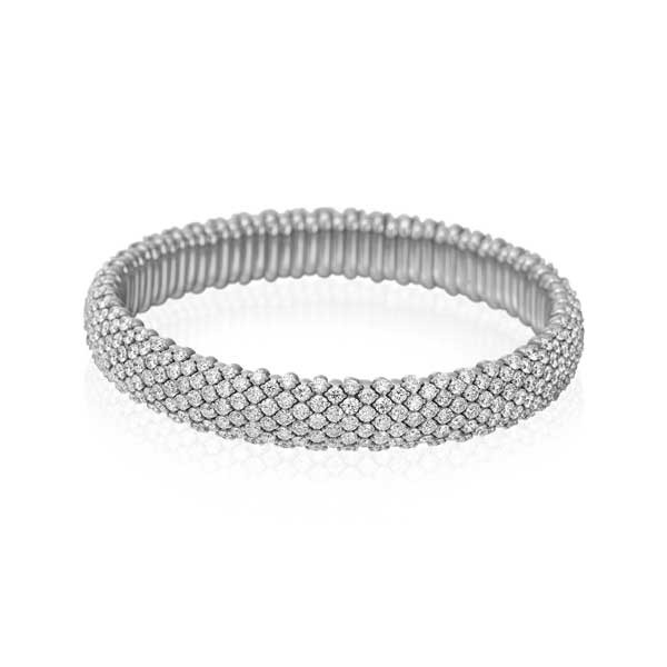 White Gold Diamond Flex Bangle Bracelet