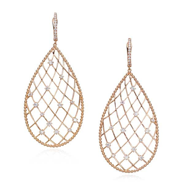 Rose Gold Net Diamond Drop Earrings