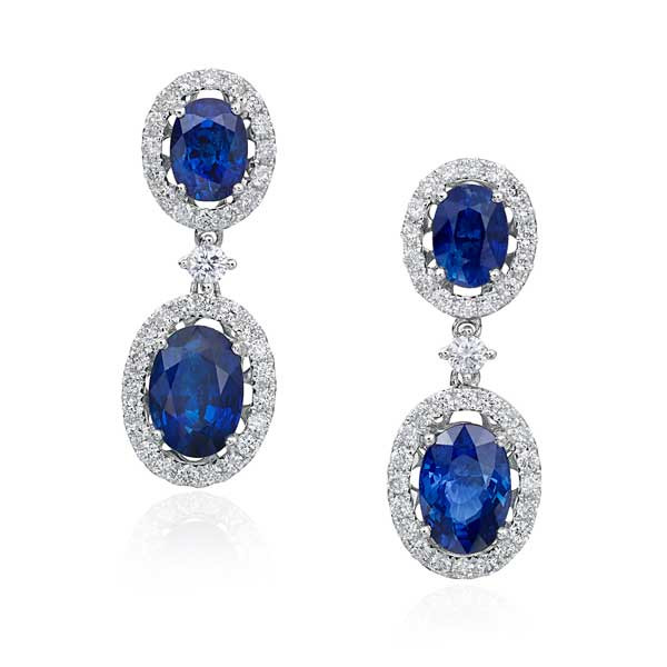 Blue Sapphire Oval Earrings with Diamonds