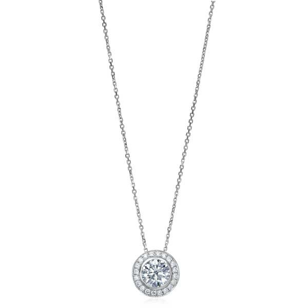 White Gold 1.50ct Diamond Halo Necklace
