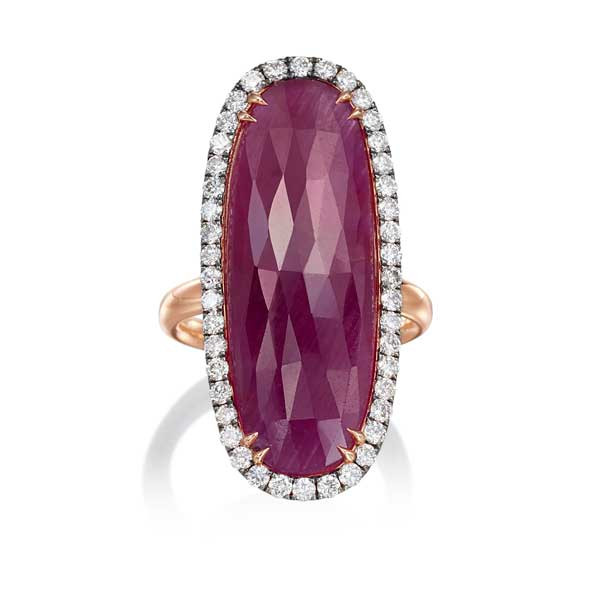 Rose Gold Fancy Ruby & Diamond Oval Ring