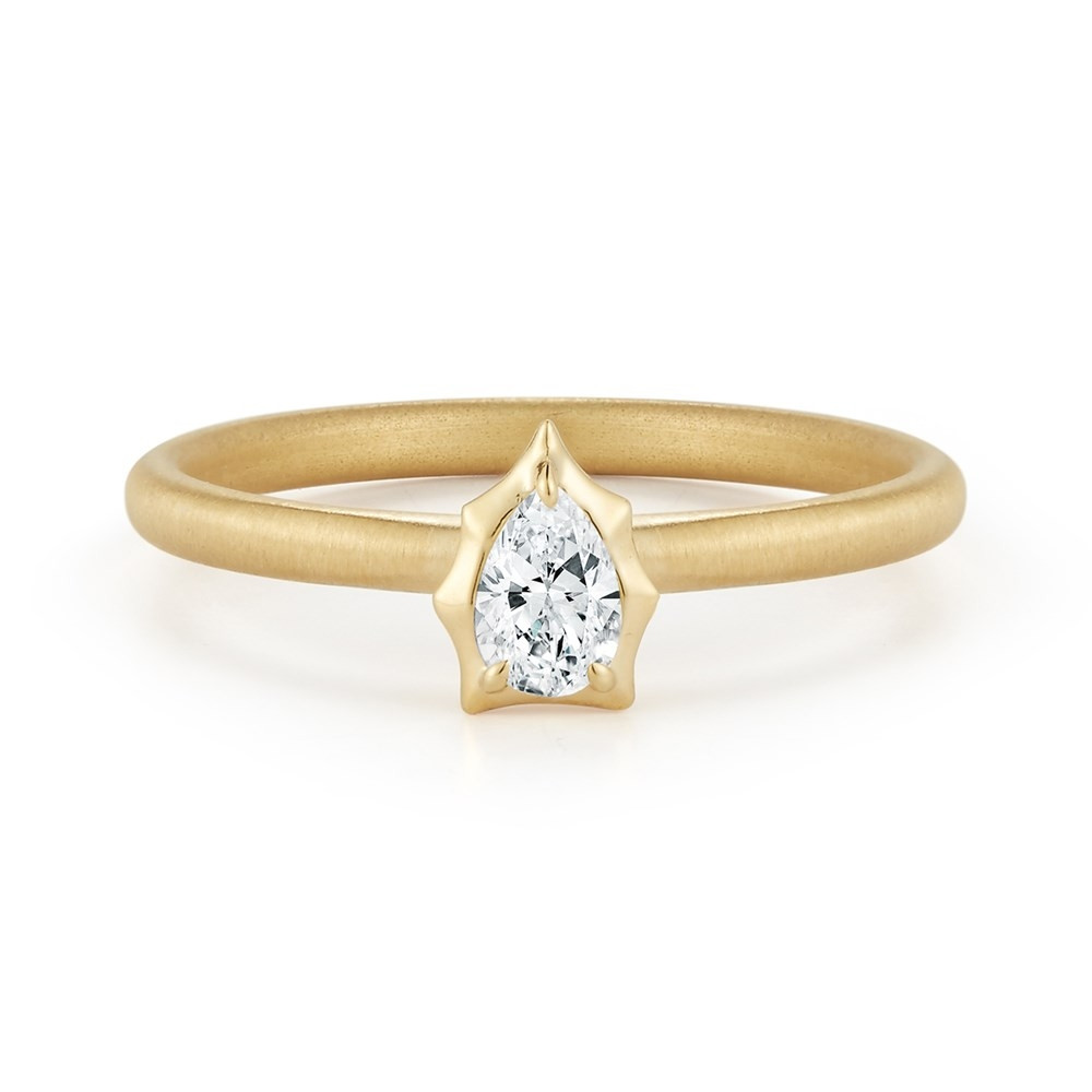 Alchemy Jade Trau Envoy Forevermark Yellow Gold Pear Diamond Stackable Ring
