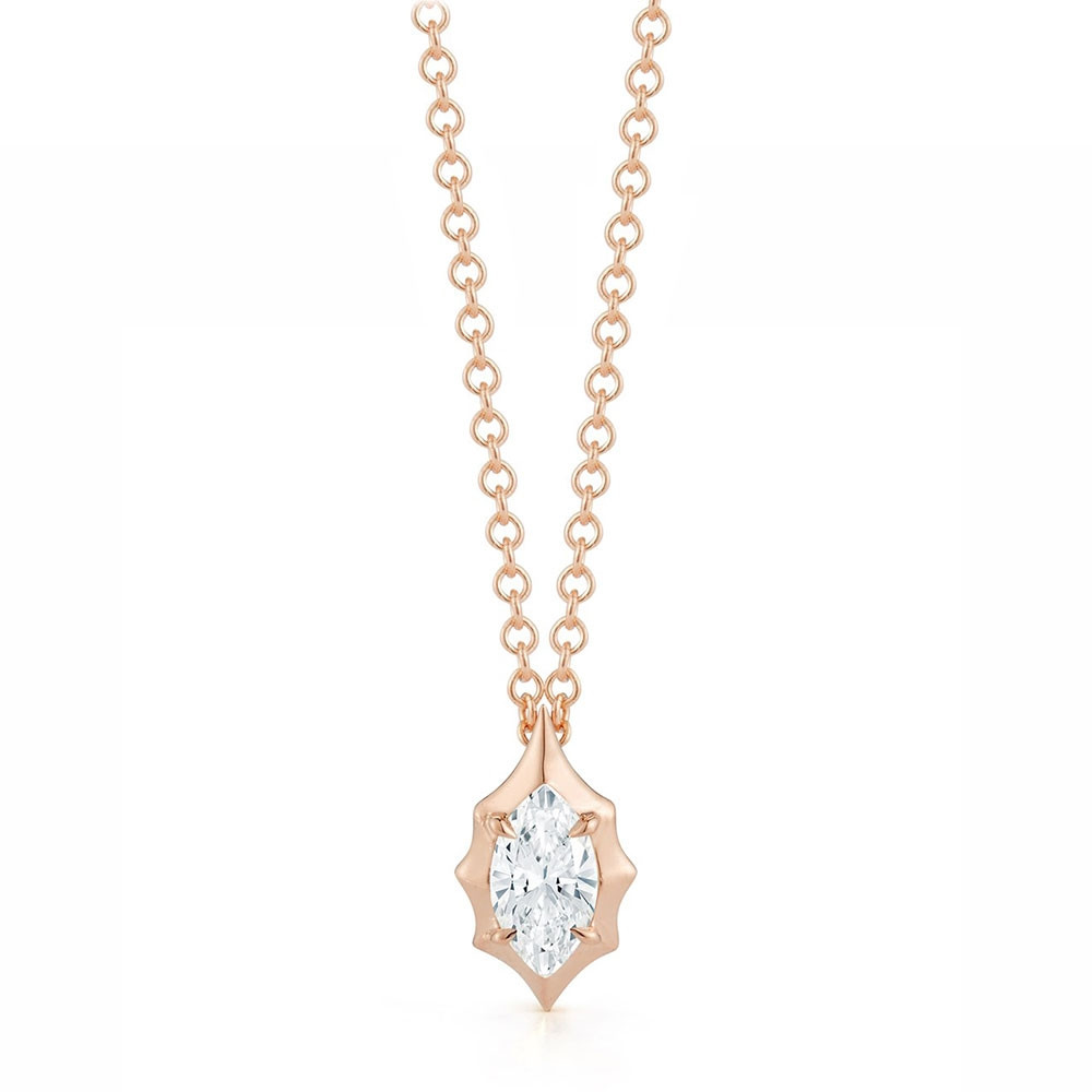 Alchemy Jade Trau Maverick Forevermark Rose Gold Marquise Diamond Pendant Necklace