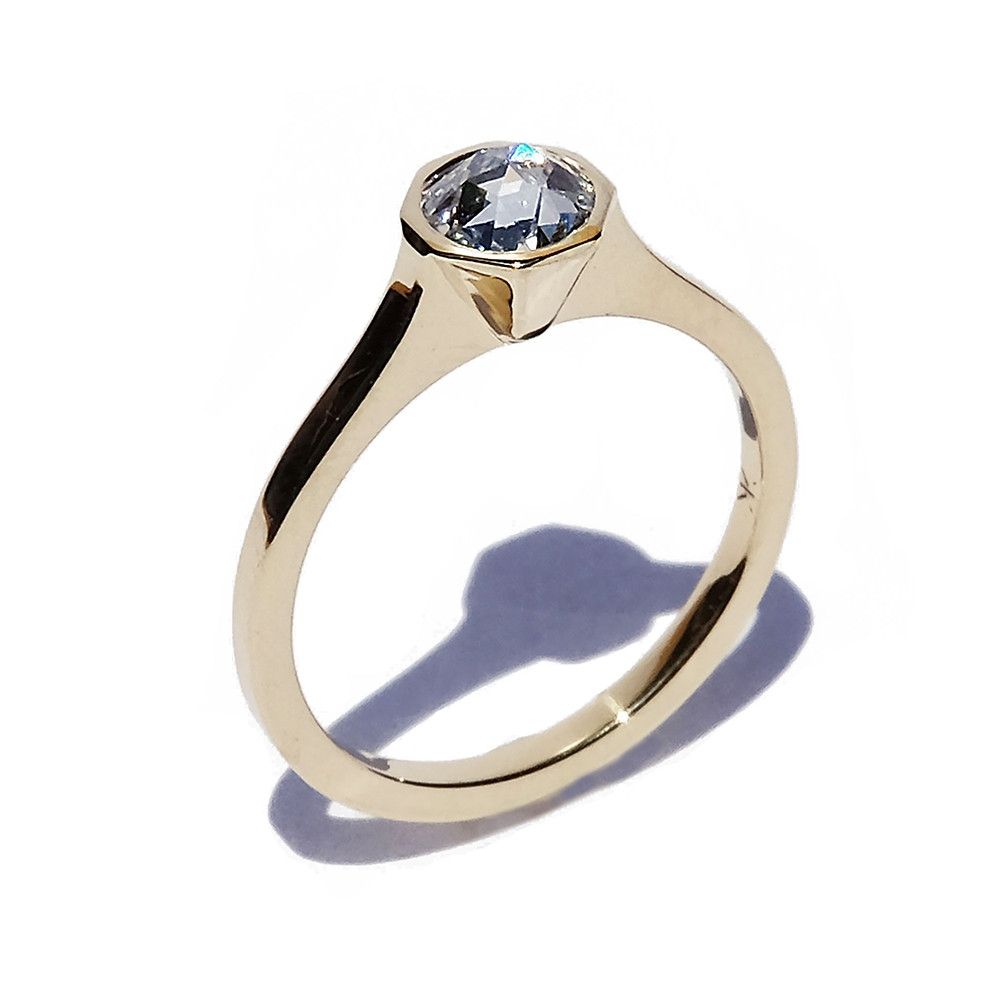 KATKIM Rosecut Cosma Engagement Ring in Yellow Gold Angle View