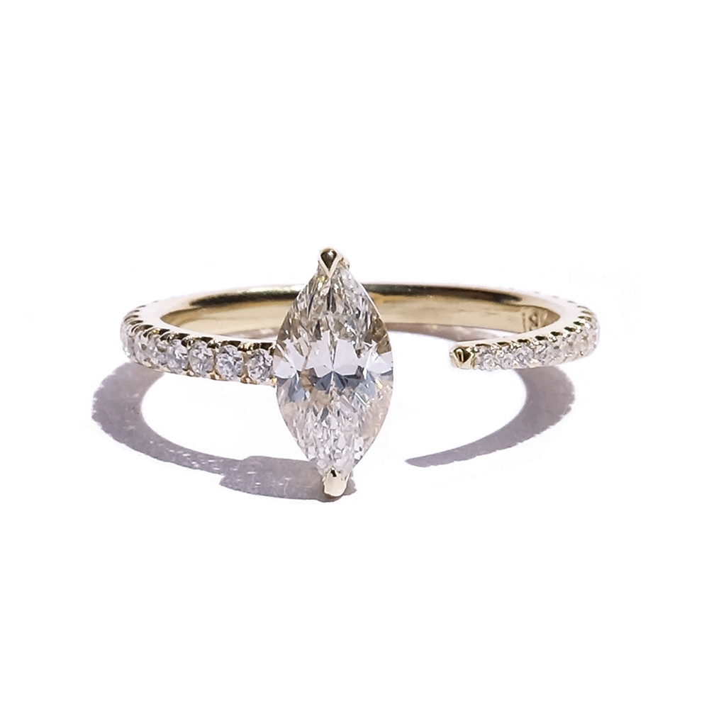 KATKIM Marquise Crescendo Pave Engagement Ring in Yellow Gold