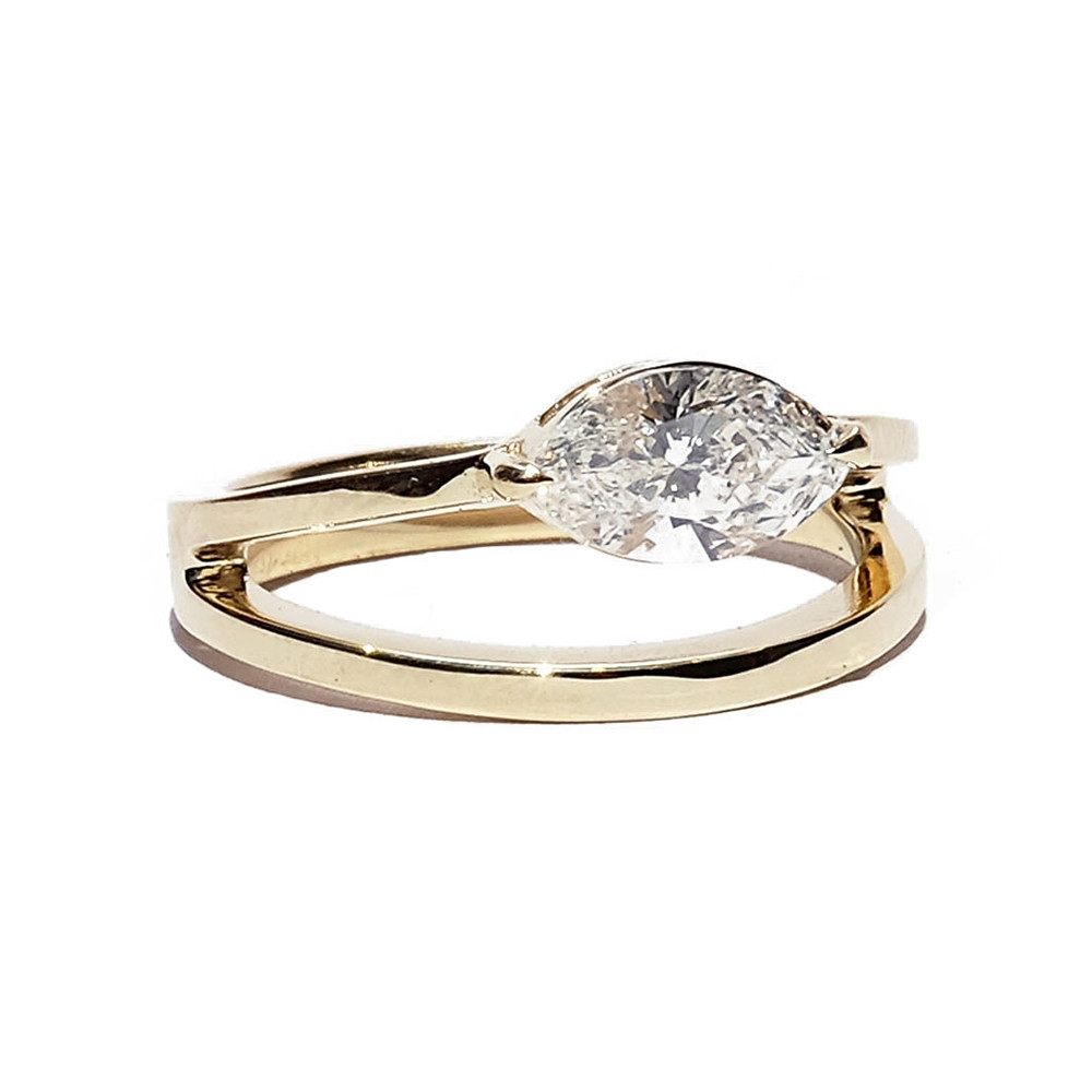 KATKIM Marquise Double Band Engagement Ring in Yellow Gold