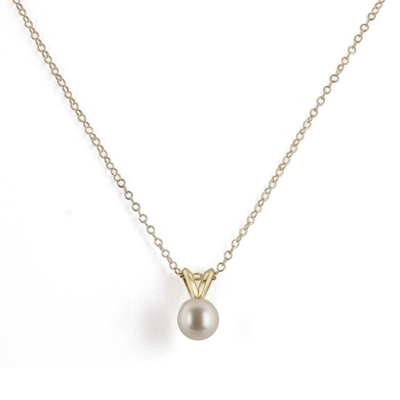 Honora White 5mm Pearl Pendant Yellow Gold Necklace