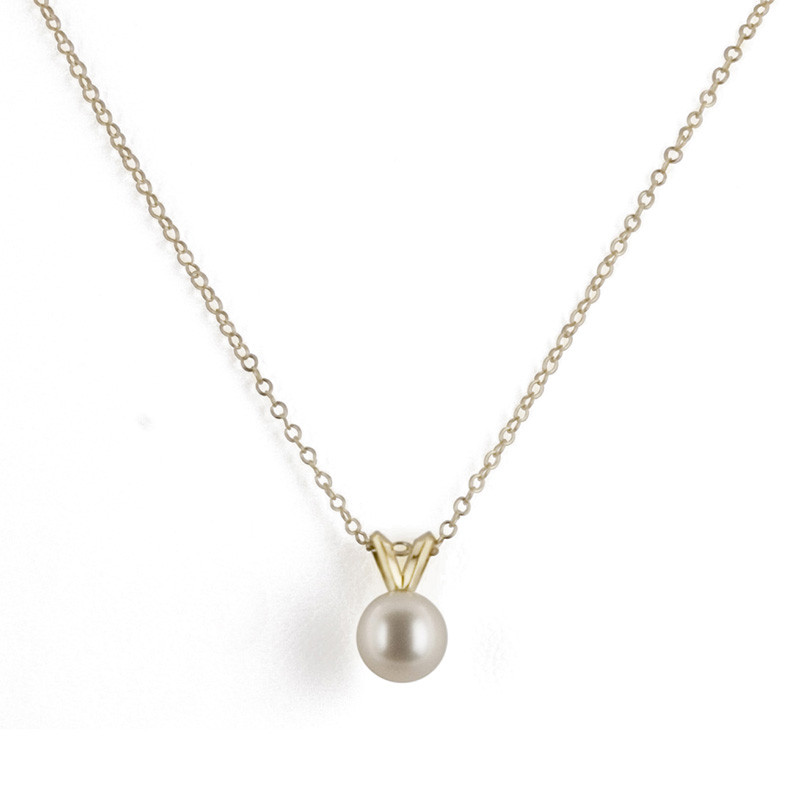Honora White 6mm Pearl Pendant Yellow Gold Necklace