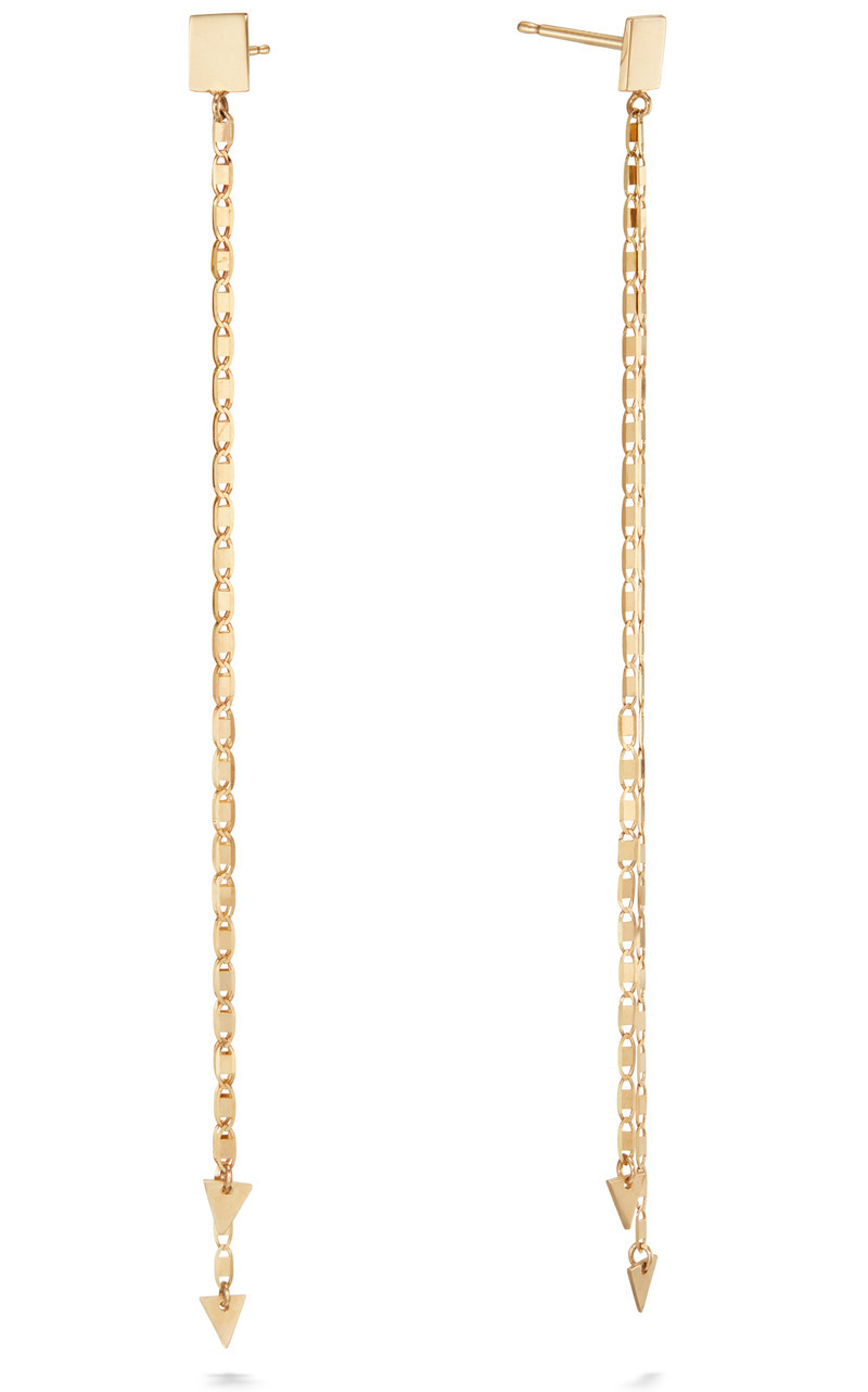 Lana Double Strand Nude Drop Earrings in 14K Gold front view